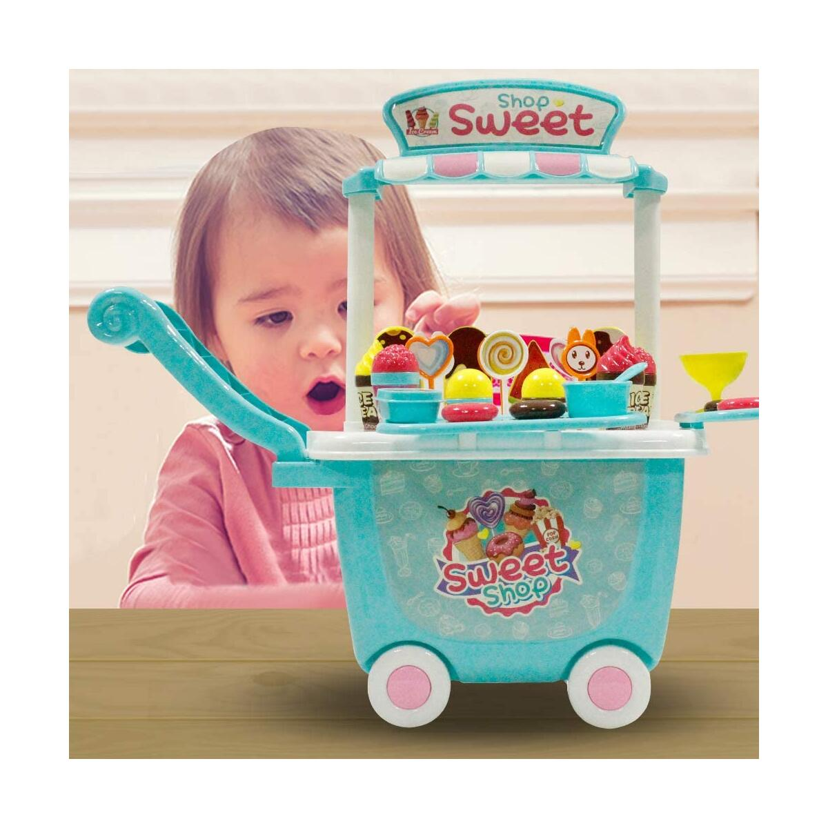 Kids Ice Cream Cart Toys - SOWOW Ice Cream Cart for Toddlers Pretend Food Play Set Food Truck for kids Ice Cream Truck Activity Early Development Educational Toy for Toddler 45 PCS Toys Set