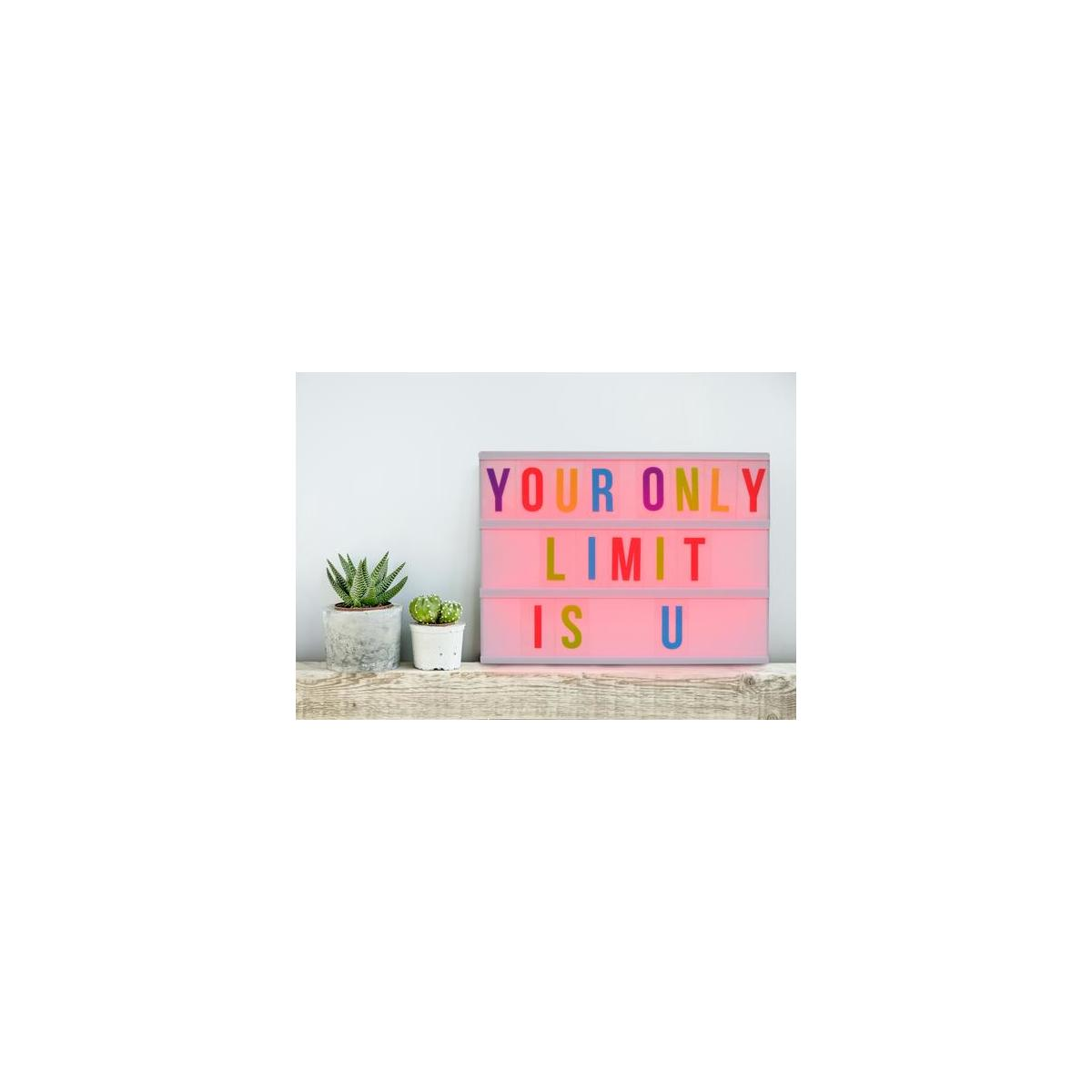 A4 Size DIY Board with 255 Black /& Colored Letters Numbers Symbols and Images Creative Marquee Lightbox For Decorative Party Sign Funtone Colors Cinema Light Box Changing Lighted Up White /& Color Led Cinematic Set