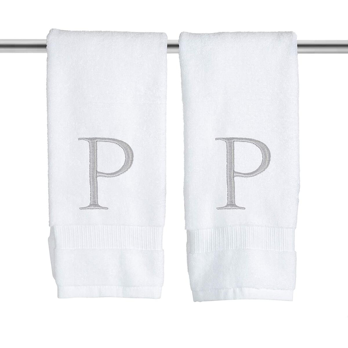 Organic Monogrammed Hand Towel for Bathroom Set of 2 - Letter P