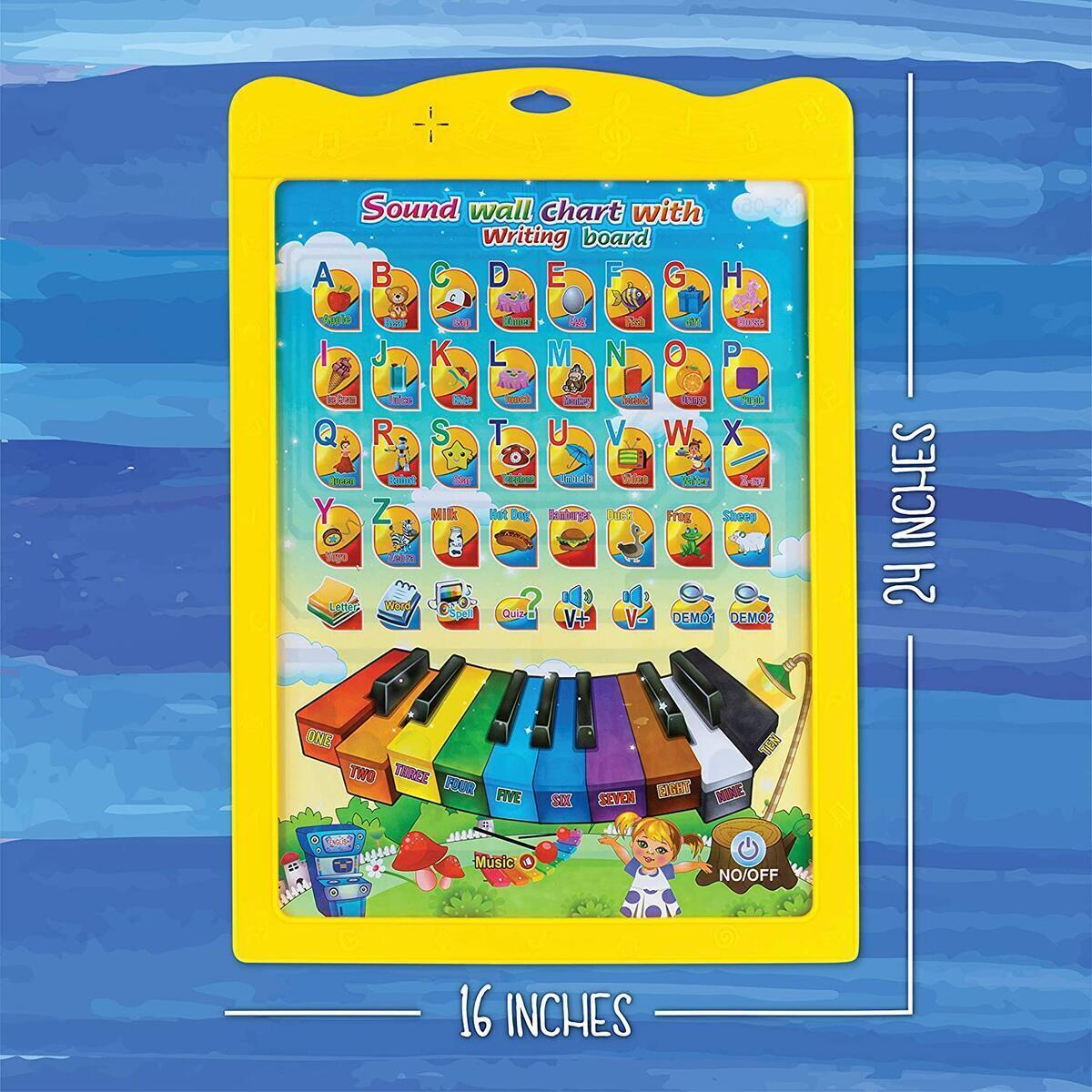 ToyVelt Interactive ABC Learning for Preschool Wall Chart Talking ABC, 123 and Music - Plus A Doodle Board on The Flip Side - Educational Toys for 3,4,5,6,7, Years Old Kids Boys & Girls