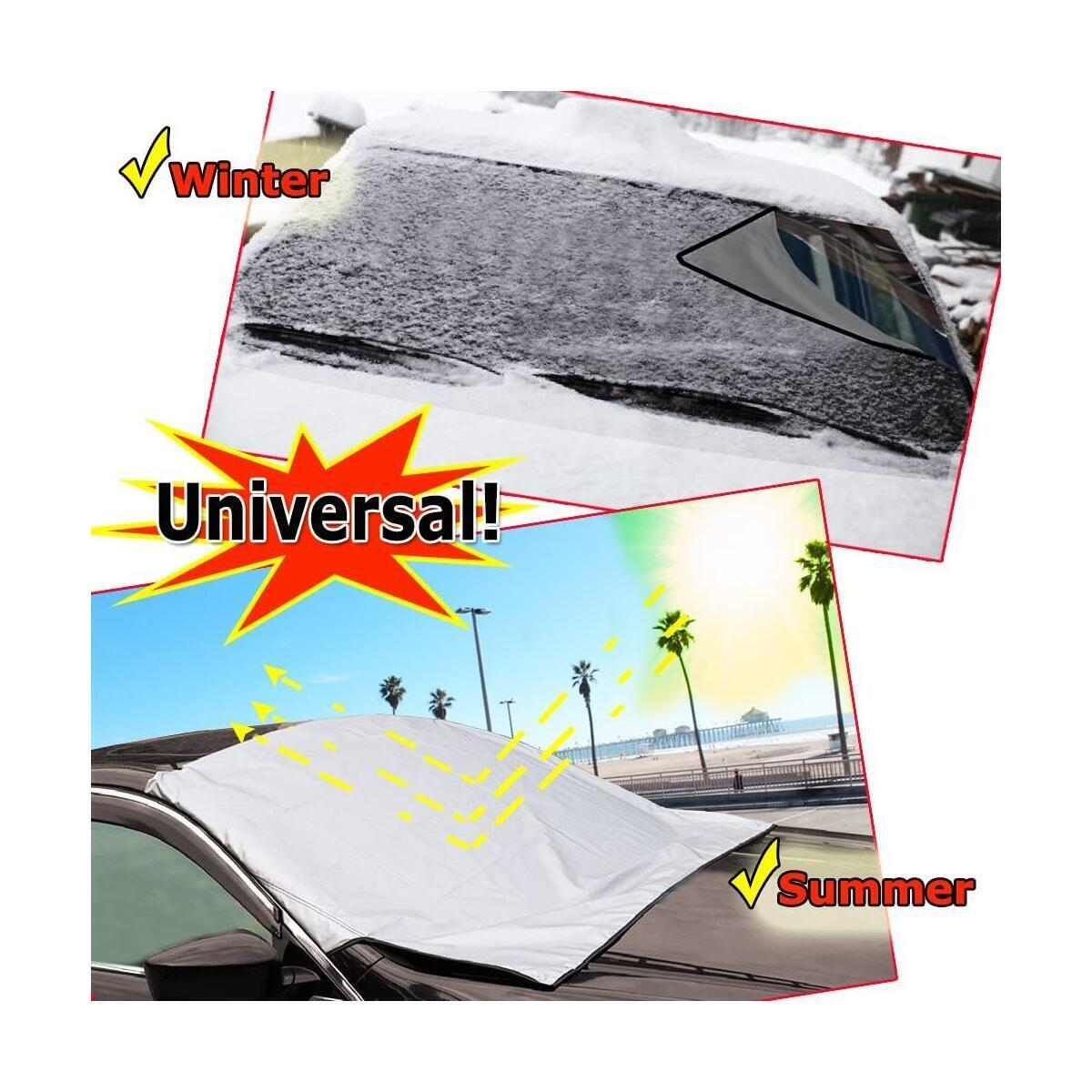 Zento Deals Reversible Multipurpose All Weather Vehicle Windshield Protector Premium Quality Winter Snow Cover + Summer Sun Shield