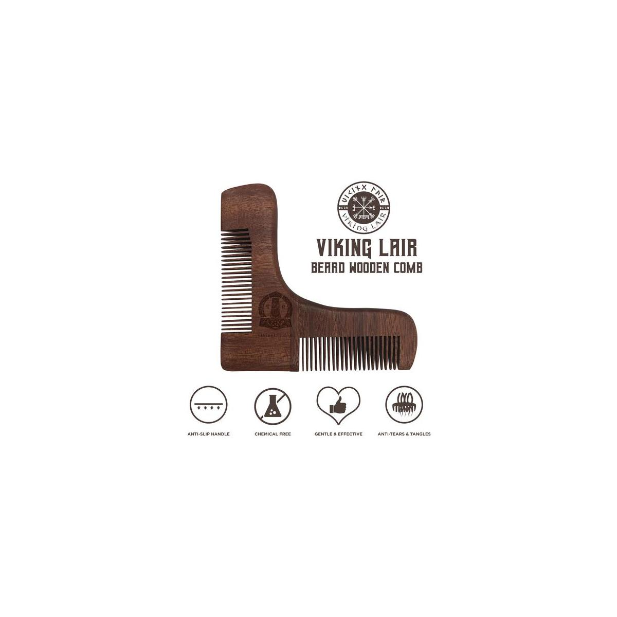 Viking Lair Wooden Beard Comb - Mustache Grooming & Styling Comb with Anti-Slip Handle - Chemical Free Wood - Gentle & Effective Beard Trimming Comb - Easy Grasp Handle - Anti-tears & Tangles
