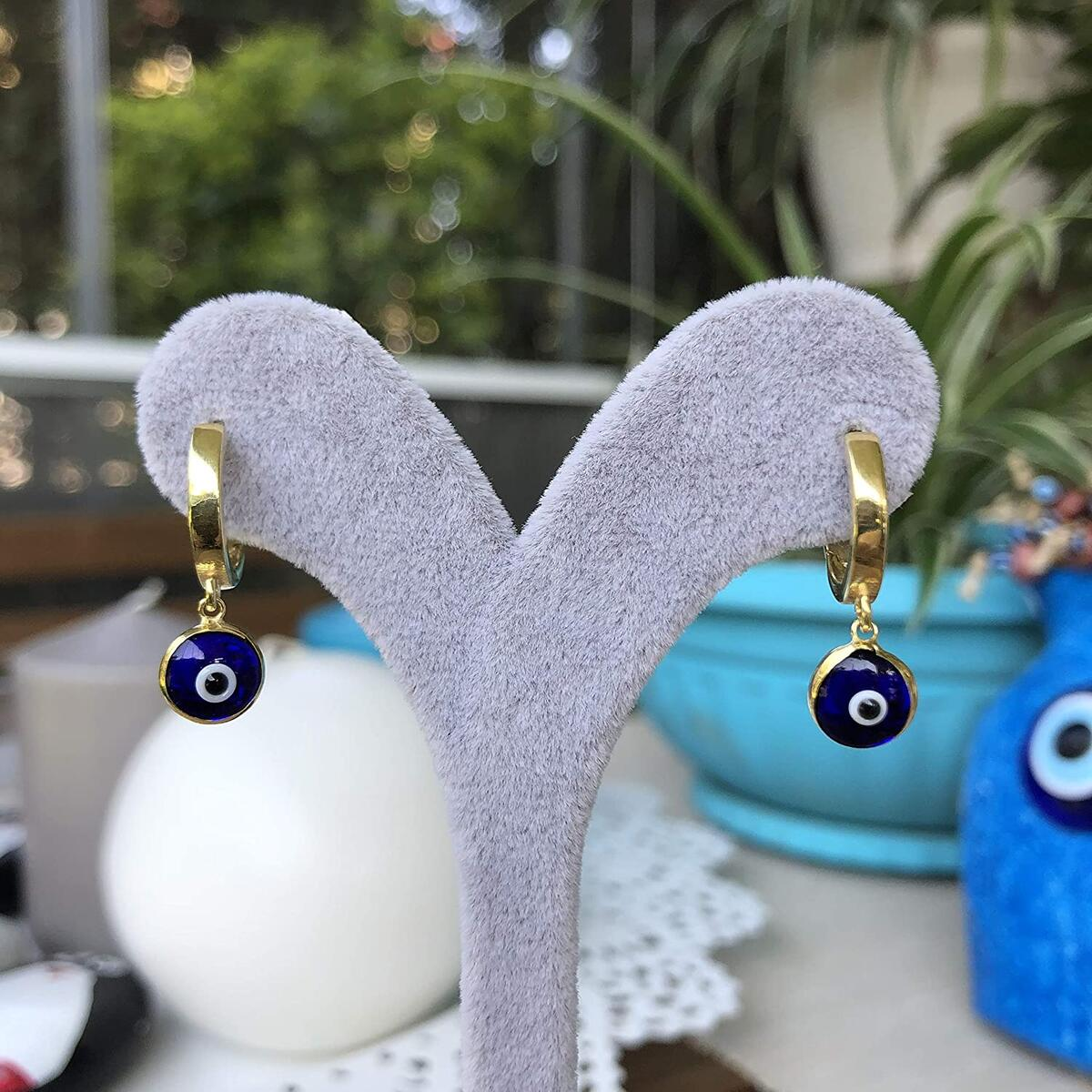925 Sterling Silver Huggie Hoop Earrings for Women, Cubic Zirconia Rhodium Plated Dangle Hamsa Evil Eye Cross Clover Star Angel Wing Earrings, Small Hoop Huggie Earrings for Women