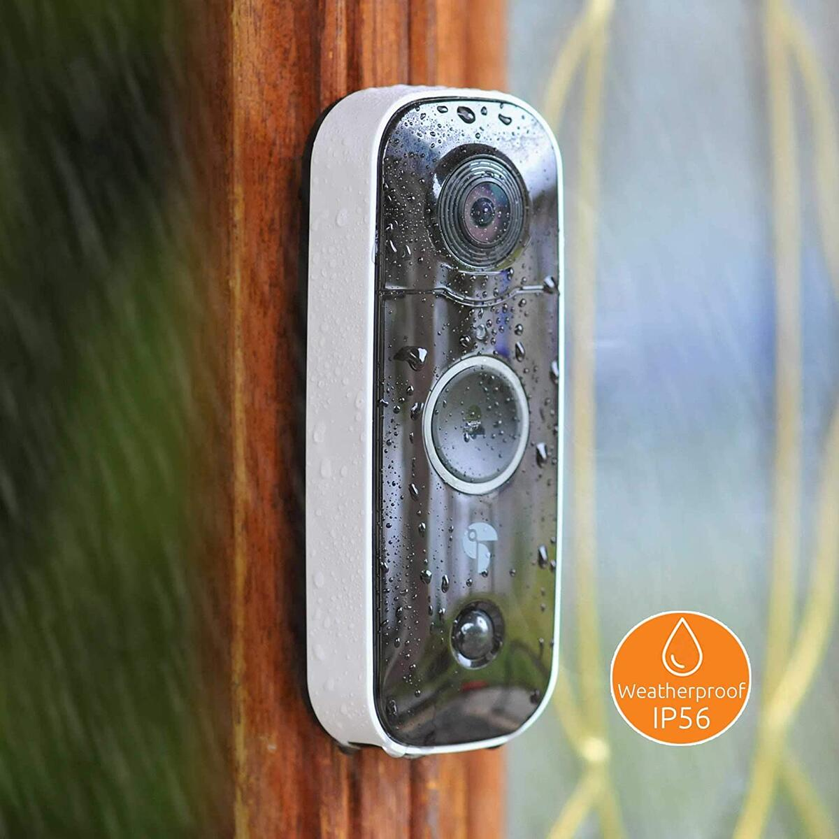 Video Doorbell 1080p HD with Chime, Doorbell Camera WiFi with Motion Detector, Smart Wireless Video Doorbell, Doorbell Camera 2 Way Audio with Night Vision, Weatherproof IP56, Wide Angle 180°,No Wire