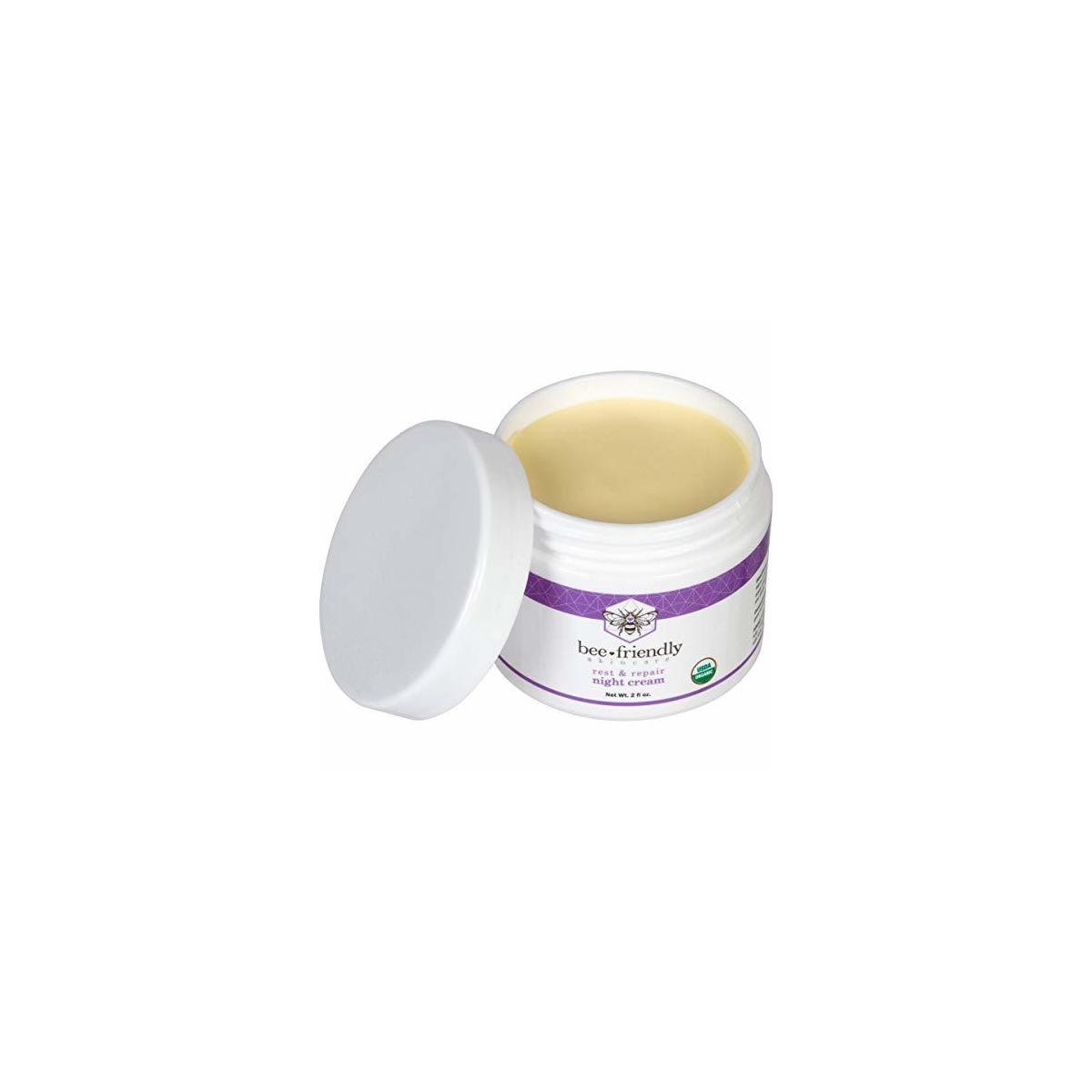 Best Night Cream Natural USDA Certified Organic Night Cream By BeeFriendly, Anti Wrinkle, Anti Aging, Deep Hydrating & Moisturizing Night Time Eye, Face, Neck & Decollete Cream for Men and Women 2 oz