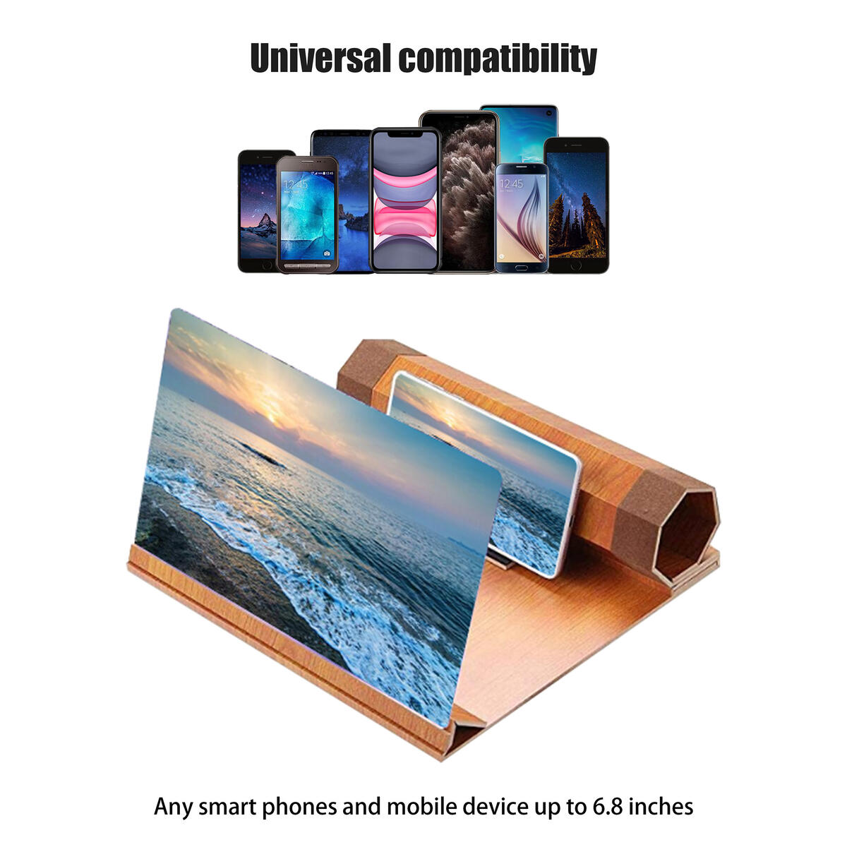 """12"""" HD Screen Magnifier for Phone,Upgraded 3D Screen Projector/Amplifier for Movies/Videos/Gaming,Wooden/Foldable/Stand/Accessories/Gadget,Compatible with All Mobile/Smart/Cell Phone(Light Brown)"""
