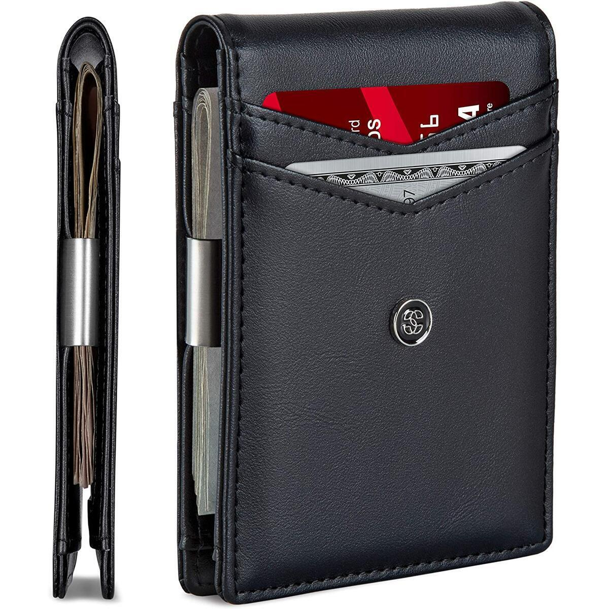 SUAVELL Leather Slim Wallets for Men. Wallet Card Holder with Money Clip. Low Profile RFID Wallet Minimalist Wallet - Obsidian Black
