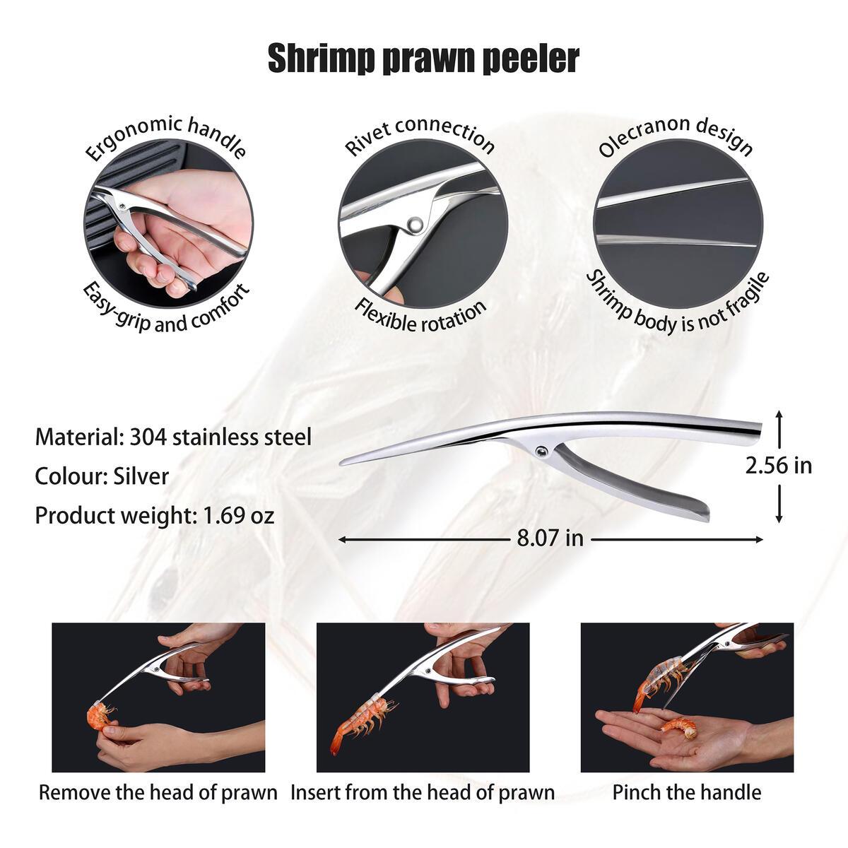 Professional Upscale Stainless Steel Seafood Tools 6pcs Set-1pcs Shrimp Prawn Peeler,1pcs Fish Scaler,1pcs Oyster Knife Shucker,1pcs Crab Cracker,1pcs Clam Opener,1pcs Seafood Scissors Lobster Shears