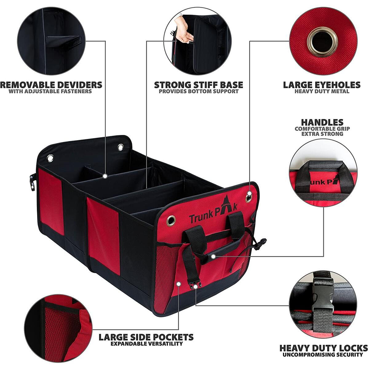 Trunk Organizer - Collapsible Car Organizer For All Types Of Vehicles - Vehicle Storage & Car Trunk Box For & Auto Home Use - Heavy Duty Fabric With Steady Cardboard - 6 Compartments - Red & Black