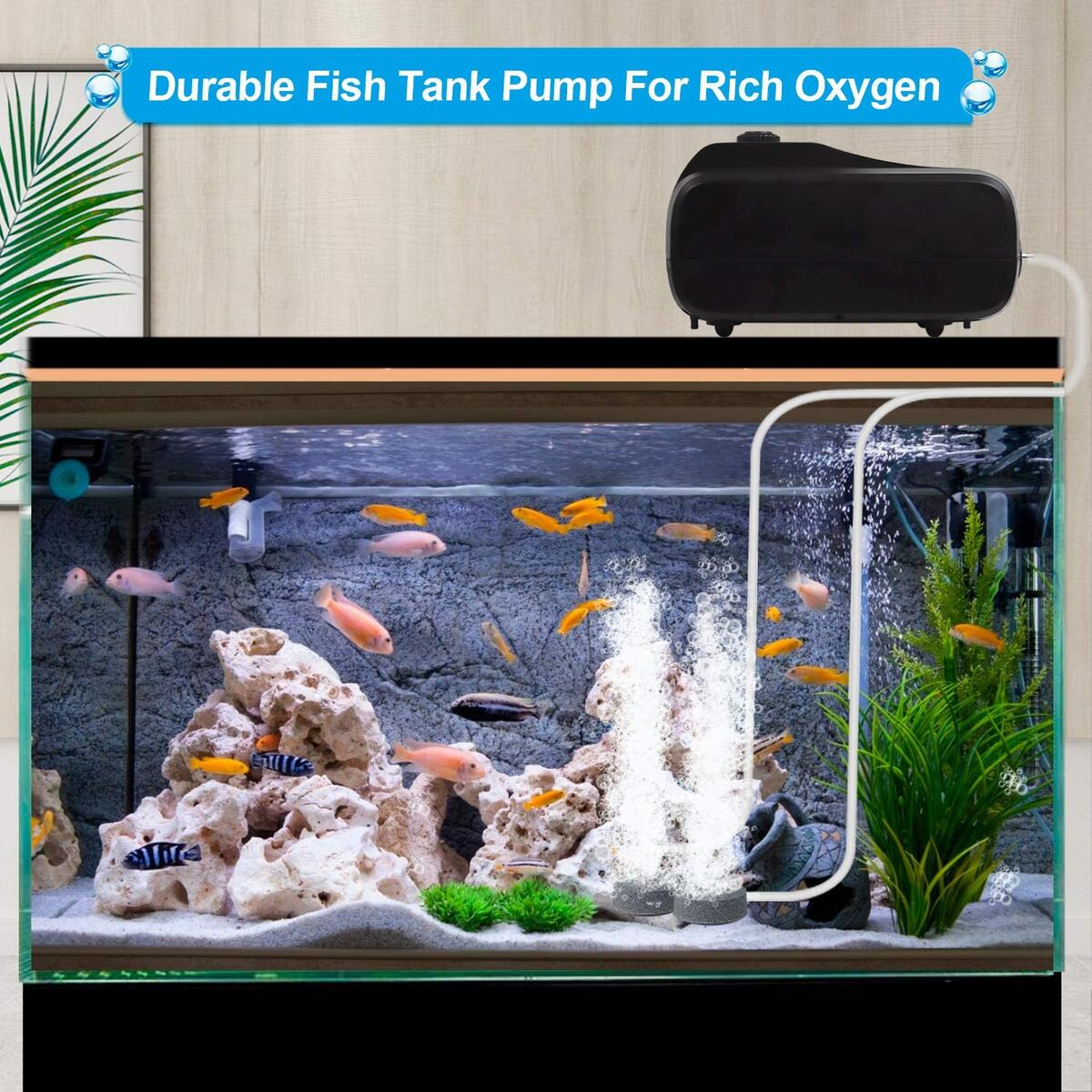 HIRALIY Aquarium Air Pump Powerful 5 W 2 Outlets Adjustable Silent Fish Tank Bubbler Oxygen Pump Aerator for Aquarium Pond Up to 500 Gallon with Air Stones Silicone Tube Check Valves