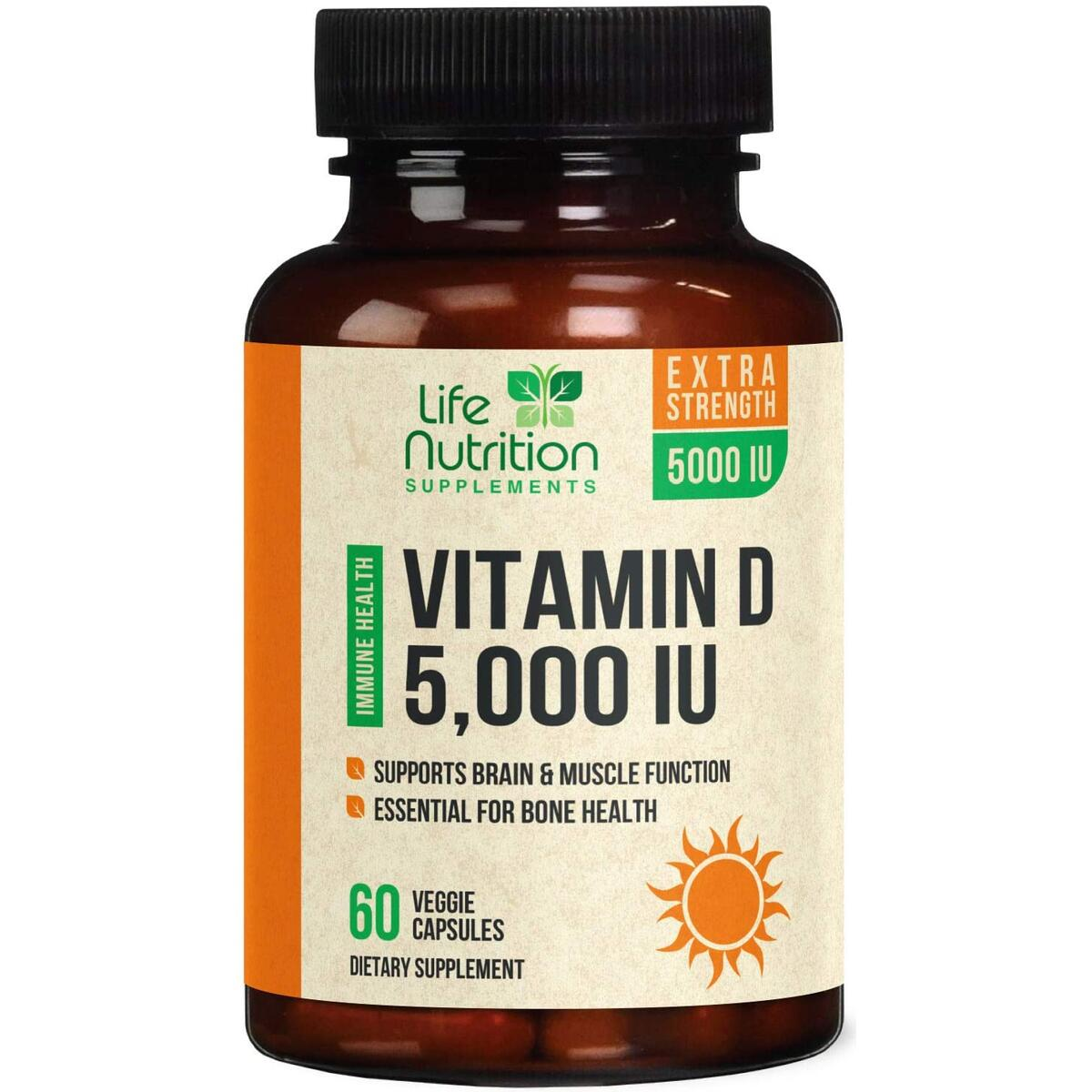 Vitamin D - Max Potency Vitamin D3 5000 IU / 125mcg, Made in USA, Bone Supplement Pills for Teeth, Heart & Immune Support for Men & Women - Non-GMO & Gluten Free - 60 Capsules