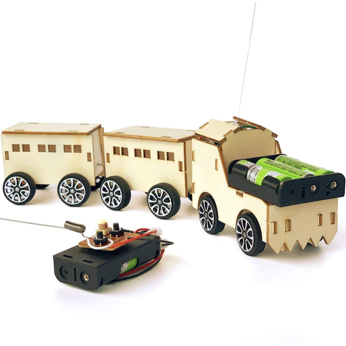 Pica Toys Wooden Wireless Remote Control Small Train Robotics Creative Engineering Circuit Science Stem Building Kit - Electric Motor DIY Experiment for Kids, Teens and Adults