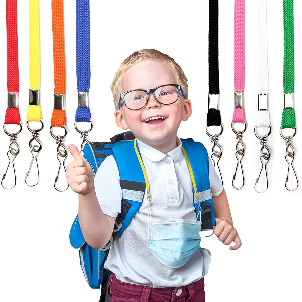 Mask Lanyard (8 Pack) - Face Mask Lanyards with Safety Clip (Mask Chain) – Convenient Face Mask Lanyard for Kids, Mask Holder for Kids and Adults to Use at School or Office, Durable & Easy to Use