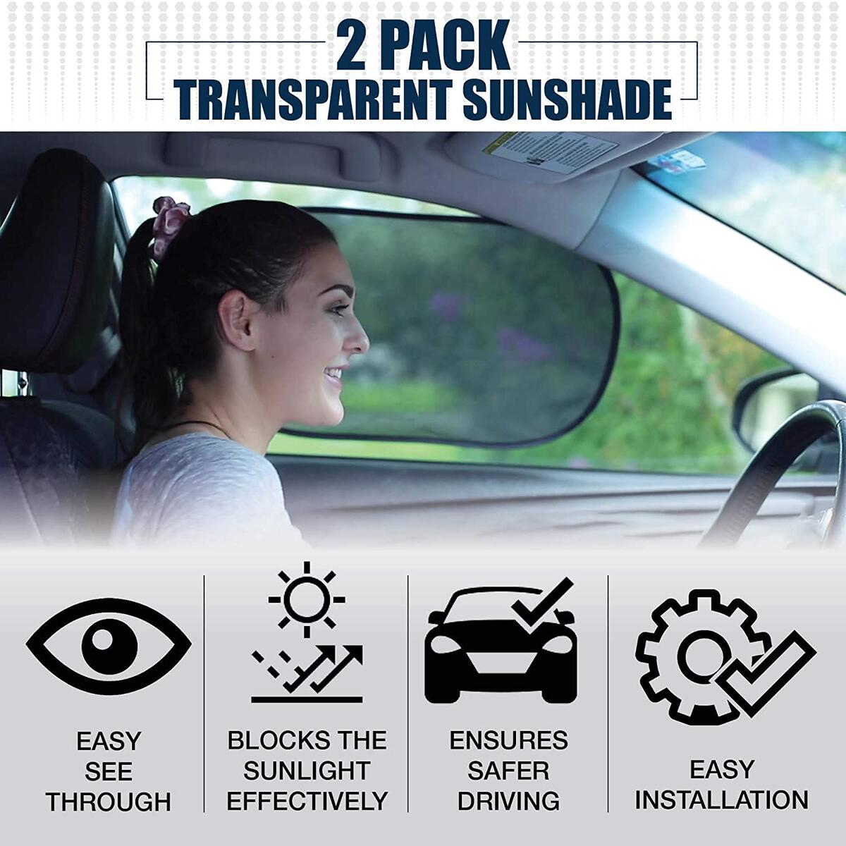 EcoNour Car Window Sun Shade (2 Pack Transparent+ 2 Pack Semi Transparent)   Car Sun Protector with 80 GSM and 15s Film Blocks Sun, Glare and UV Rays   Baby Side Window Sunshades (20