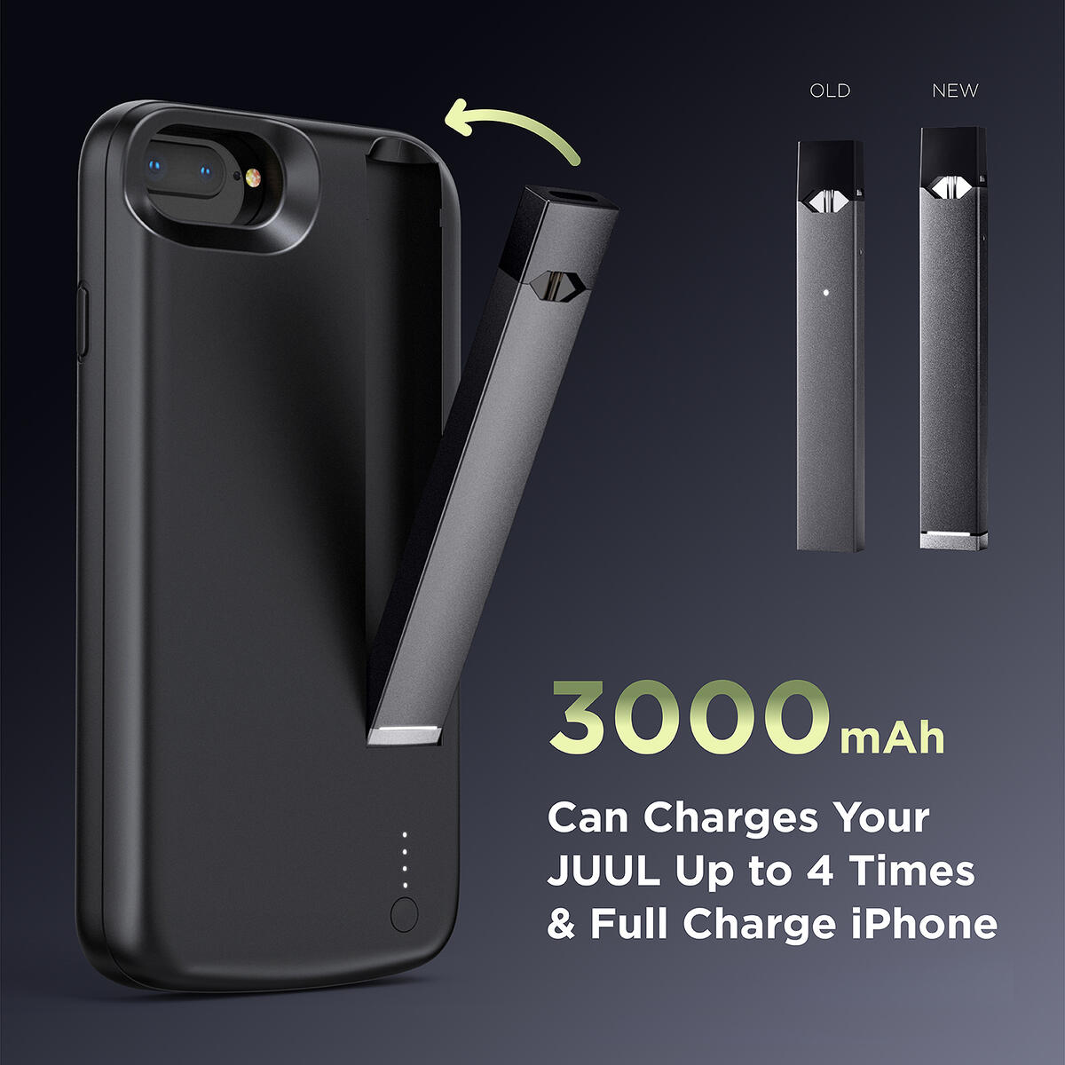 INGNOK Battery Case for iPhone 6/6S/7/8/SE, 2020 Upgraded [Charger for JUUL ], Can Charger for iPhone and JUUL,Smart Portable Battery Charger Case with Built-in JUUL Charging Port- Black