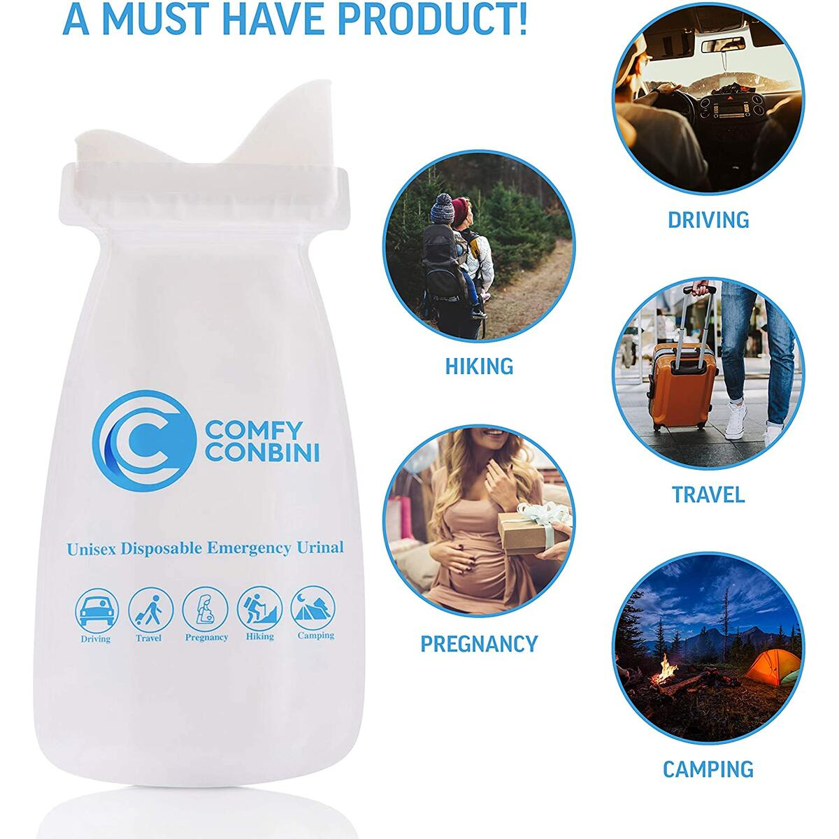 Comfy Conbini Urinal Bags Male/Female Bathroom Bag for Car, Kids, Bathroom, Camping, Hiking - Leak-Proof