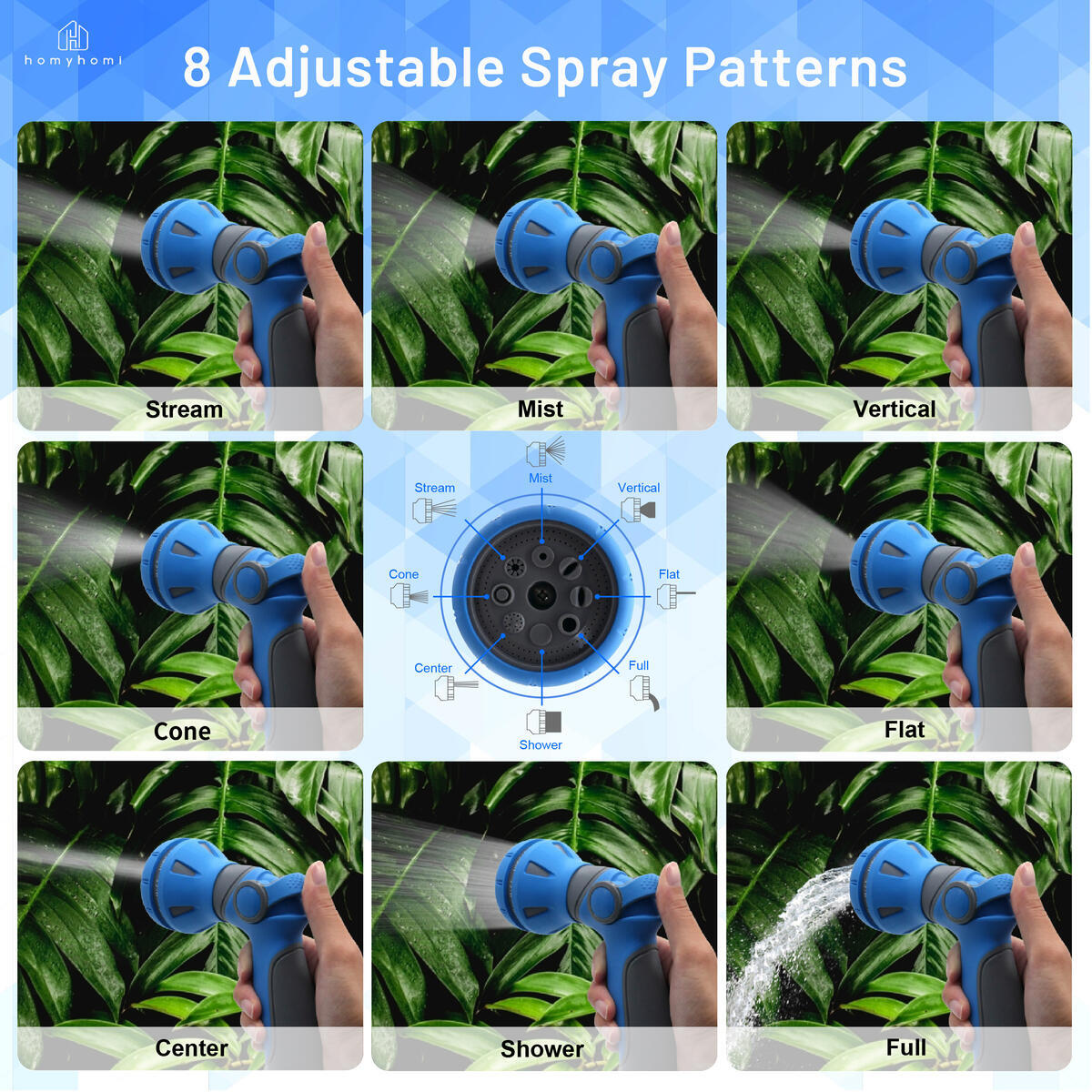 Thumb Control Garden Nozzle, 8 Spray Patterns, Multi-Functional Hose Spray Nozzle for Pets/Plants, Plant Sprayer, Garden Hose Sprayer