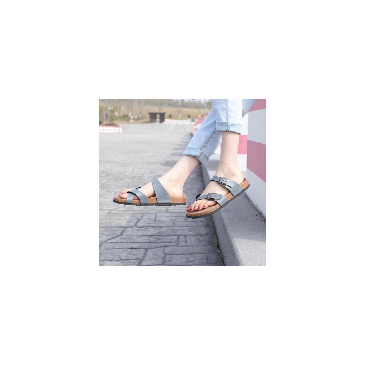 Seranoma Women's Toe Ring Cork Sandal | Classic Ladies Sandal | Flat Footed Dual Adjustable Buckle | Breathable Open Toe Slide | Comfort …