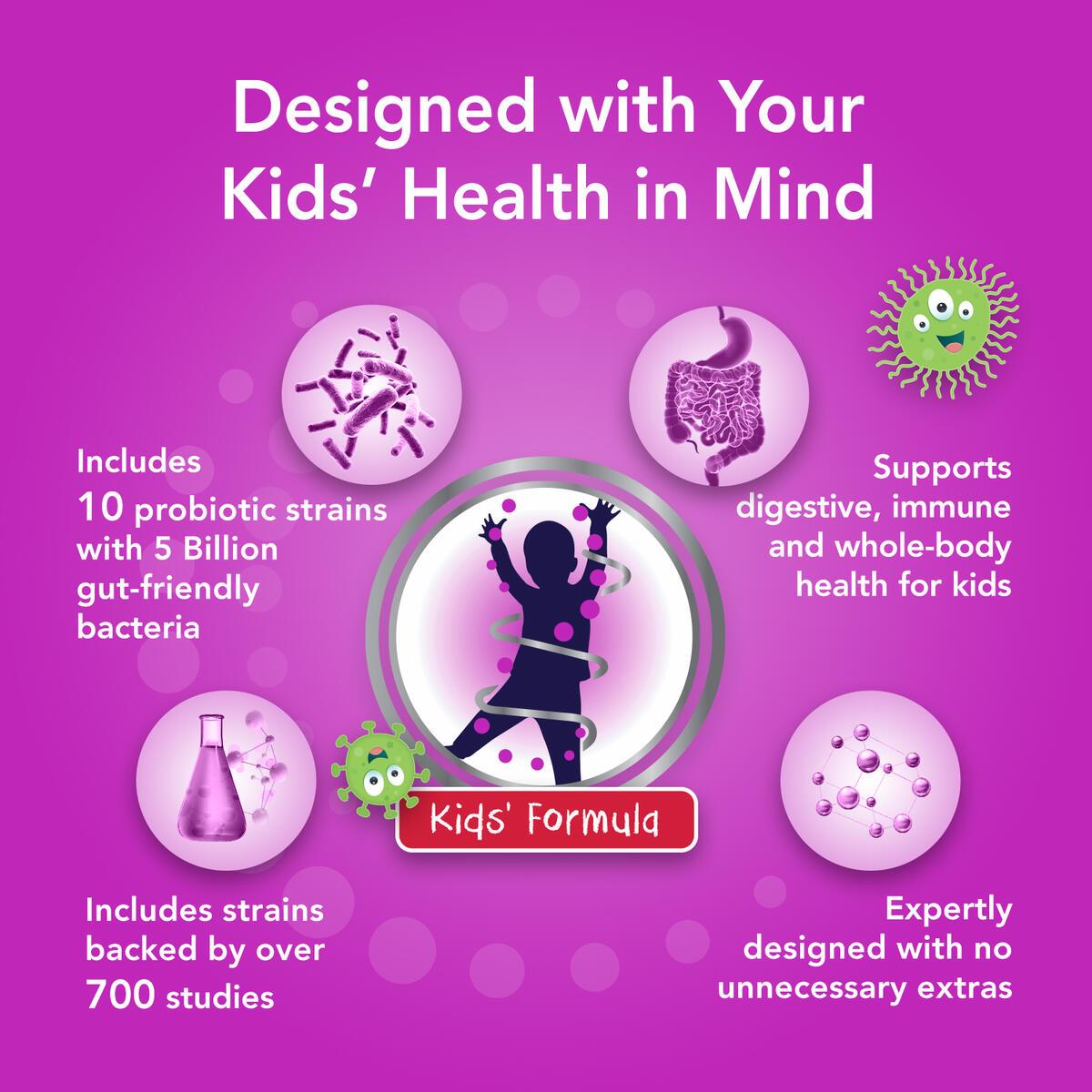 Bio360 Kids Probiotic   Targeted Probiotics for Kids Whole Body Health   5 Billion CFU 10 Strains   Chewable Mixed Berry Flavor   30 Vegan Supplements