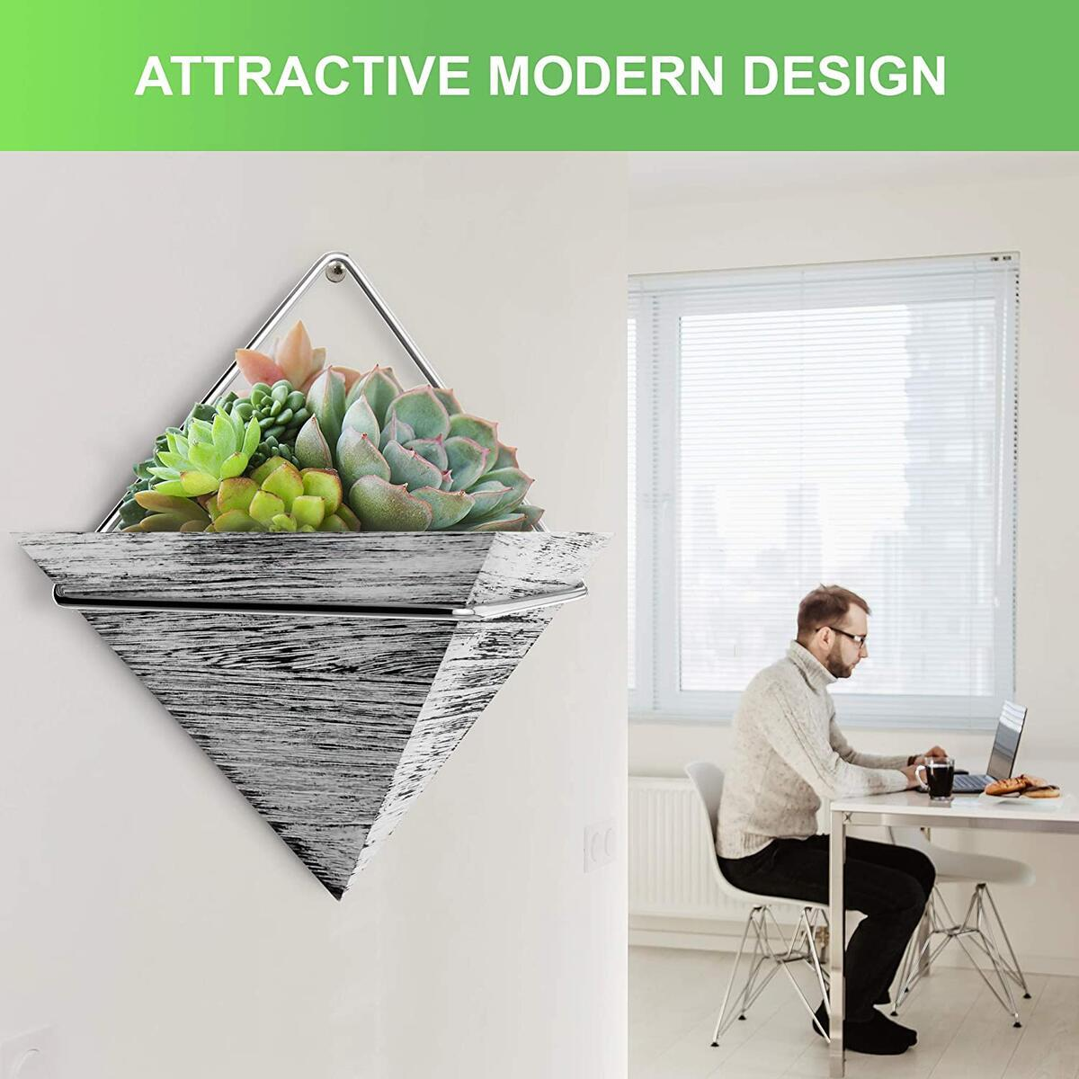 Wall Hanging Planter for Succulent & Plants - Modern Indoor Triangle Plant Holder in Rustic Wood - Wall Planters Décor for Home or Farmhouse - Small Wall Pots for Succulents(Rustic White)