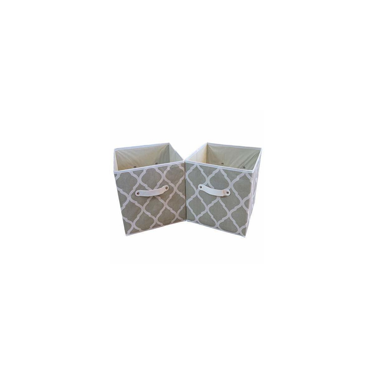 """2 Set Fabric Storage Bins -Leather Handles -11x11x11"""" -SAGE/White; USES: Storage Cube Organizer, Book, Sports Toy Box Clothes Baby Basket; Home, Nursery, Office (Without Lids)"""