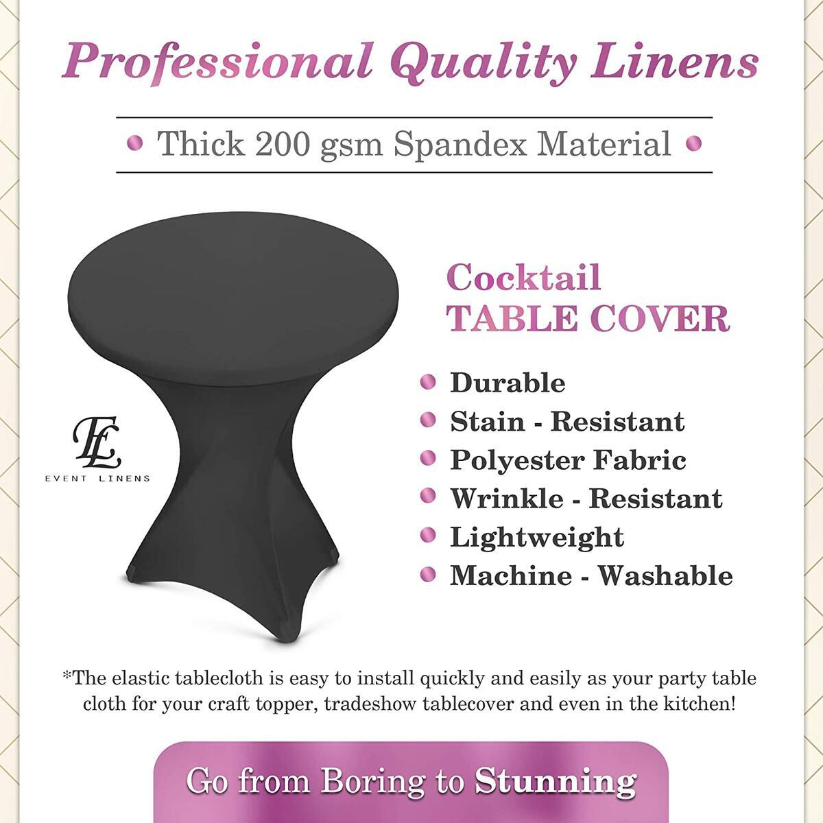 2-Pack Spandex Cocktail Table Cover - Fitted High Top Table Cloth, Stretch Tablecloth Covers for Cocktail Tables