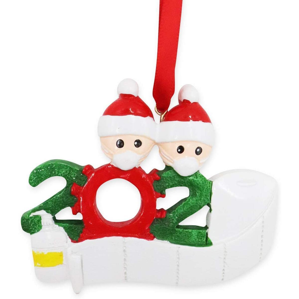 buddy4baby Personalized Christmas Ornaments, 2020 Quarantine Survivor Couple Customized Xmas Tree Hanging Set DIY Creative Gift (family-2-w)