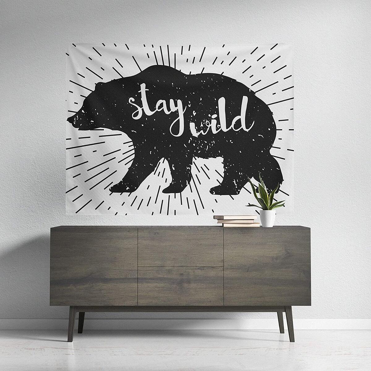 Stay Wild Black and White Bear Wall Tapestry, Cute Boho Home Wall Decor for Dorm Room Art, VSCO Teen Girl Bedroom Aesthetic, Living Room Flag Hanging