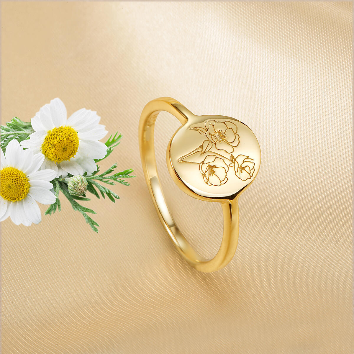 Handmade Poppy Flower Signet Ring -18K Gold Over 925 Sterling Silver Ring-Minimalistic Statement Ring with Botanical Engraved- Delicate Jewelry Gift for Women/Girls