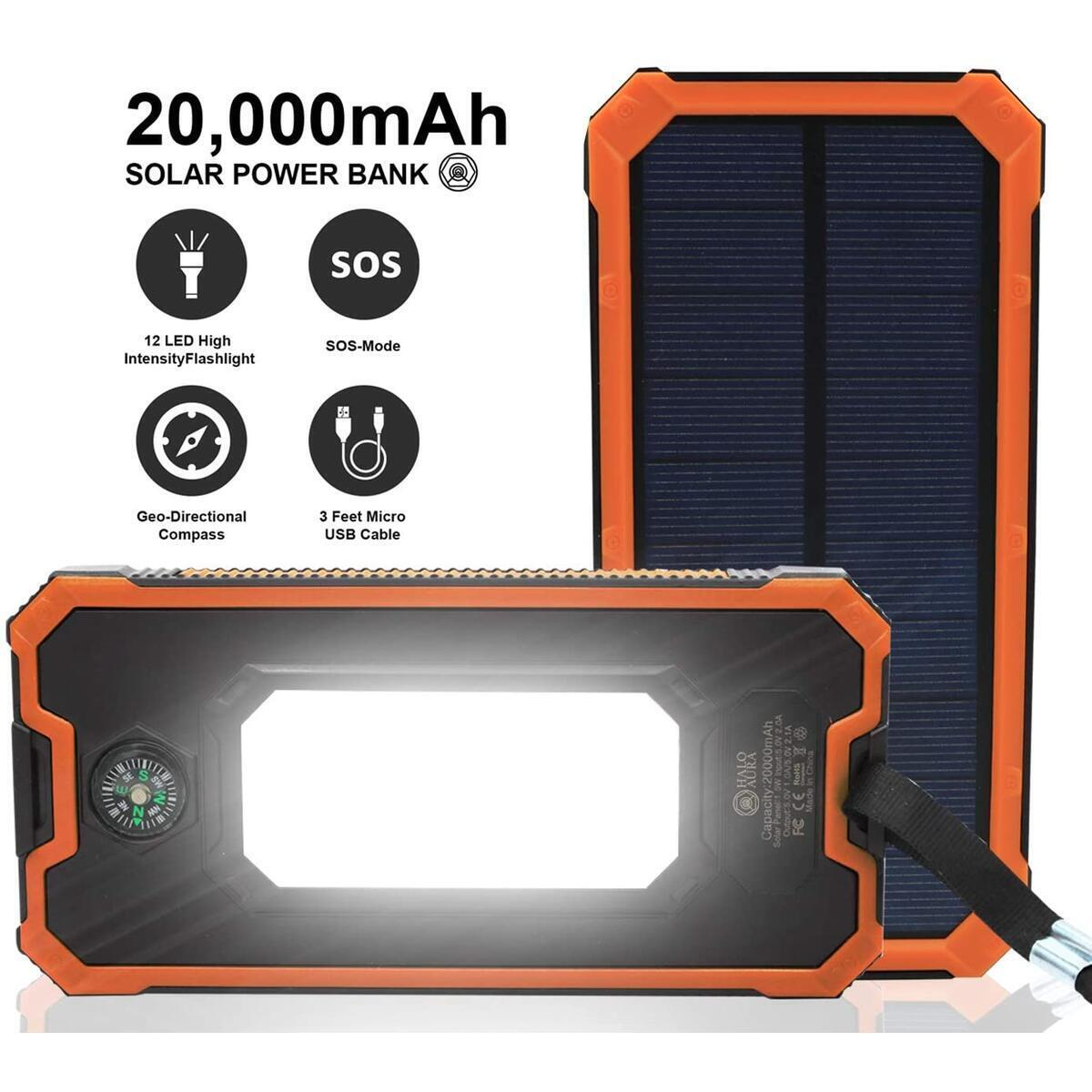 Solar Charger 20,000mAh, Halo Aura Portable Dual USB Solar Battery Charger External Battery Pack Phone Charger Power Bank with Flashlight for Smartphones Tablet Camera