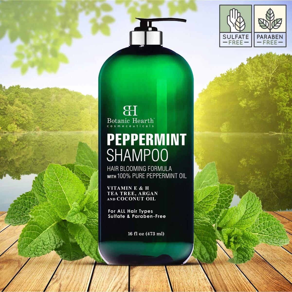 Peppermint Oil Shampoo - Hair Blooming Formula with Keratin for Thinning Hair - Fights Hair Loss, Promotes Hair Growth - Sulfate Free for Men and Women - 16 fl oz