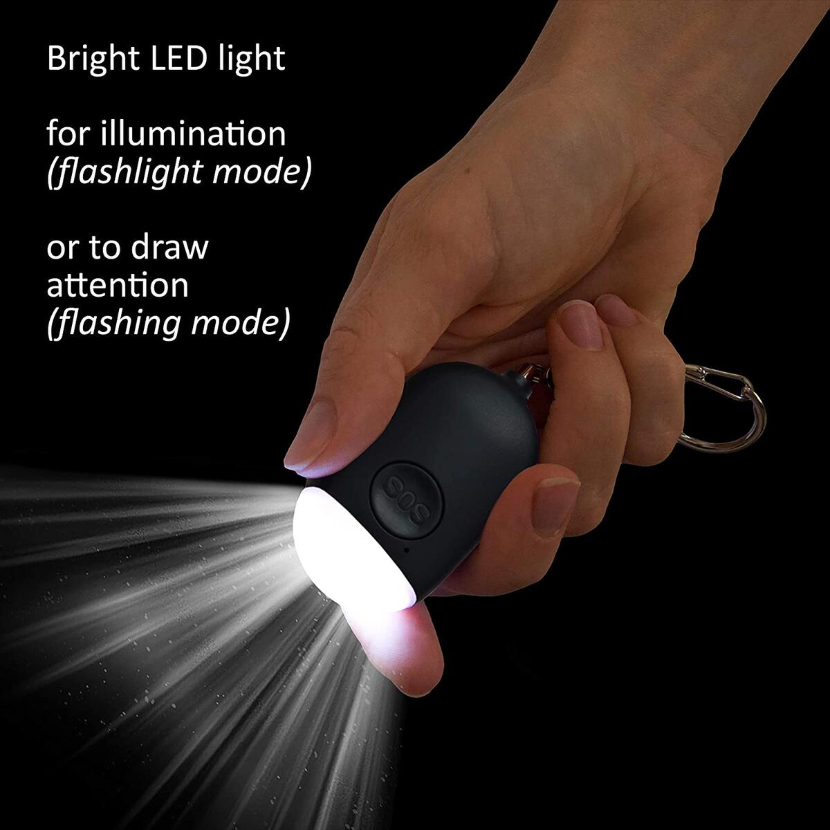 Rechargeable Personal Alarm Keychain with LED Light (Black)