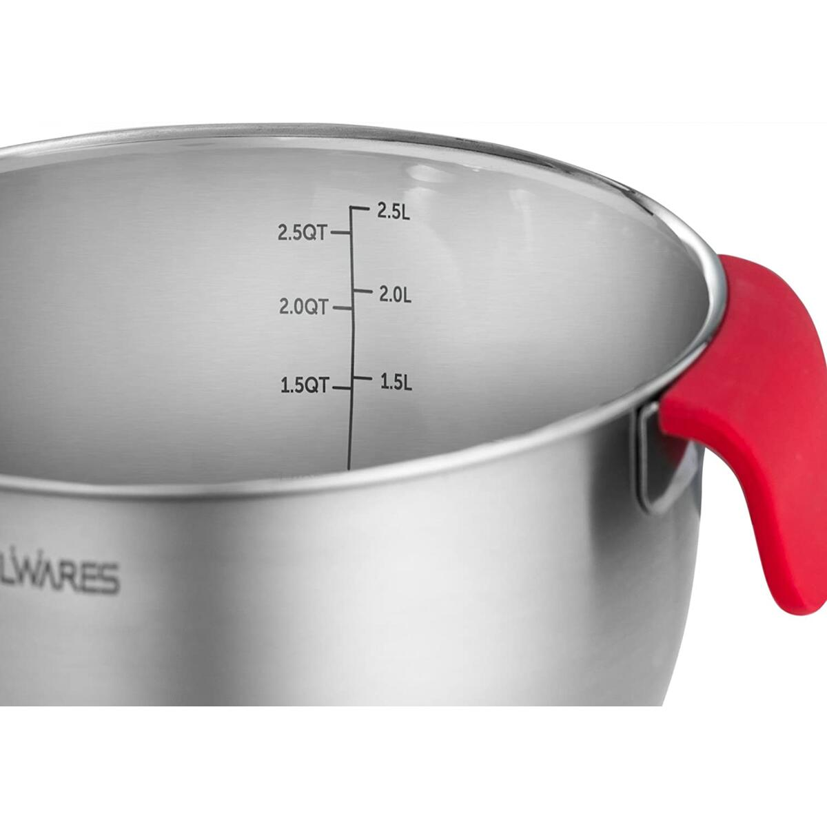 Belwares Stainless Steel Mixing Bowls - Set of 3 Nesting Bowls with Handle, Lids, Grater Attachments - Great for Cooking, Baking & Food Storage - Set Includes 1.5 Qt, 3 Qt. & 5 Qt