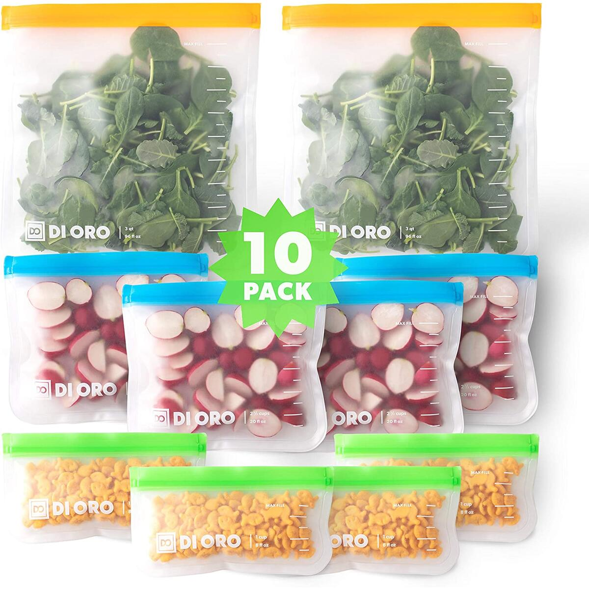 DI ORO 10-Pc Reusable Snack Bags - 100% Food Safe BPA Free Freezer Safe Bags - 2 Gallon, 4 Sandwich, and 4 Small Bags - Thick, Leakproof, and Washable - Easy Ziplock Reusable Sealing System