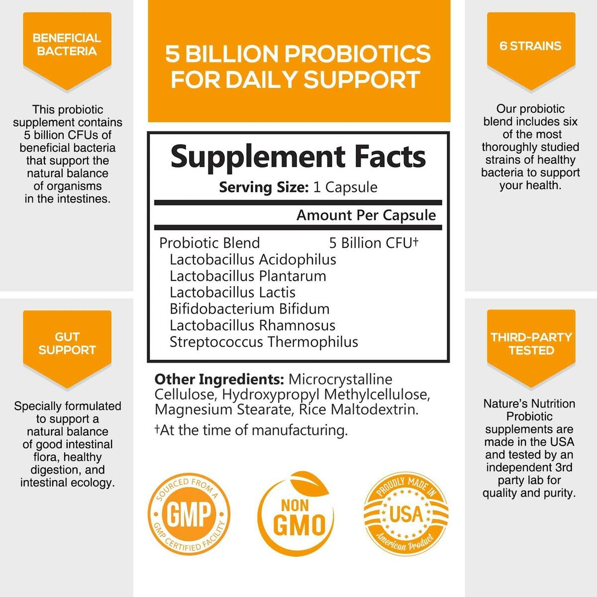 Probiotics Extra Strength Daily Probiotic 5 Billion CFU - Shelf Stable Probiotic for Digestive Health - Made in USA - Acidophilus Supplement for Women & Men, Non-GMO - 60 Capsules
