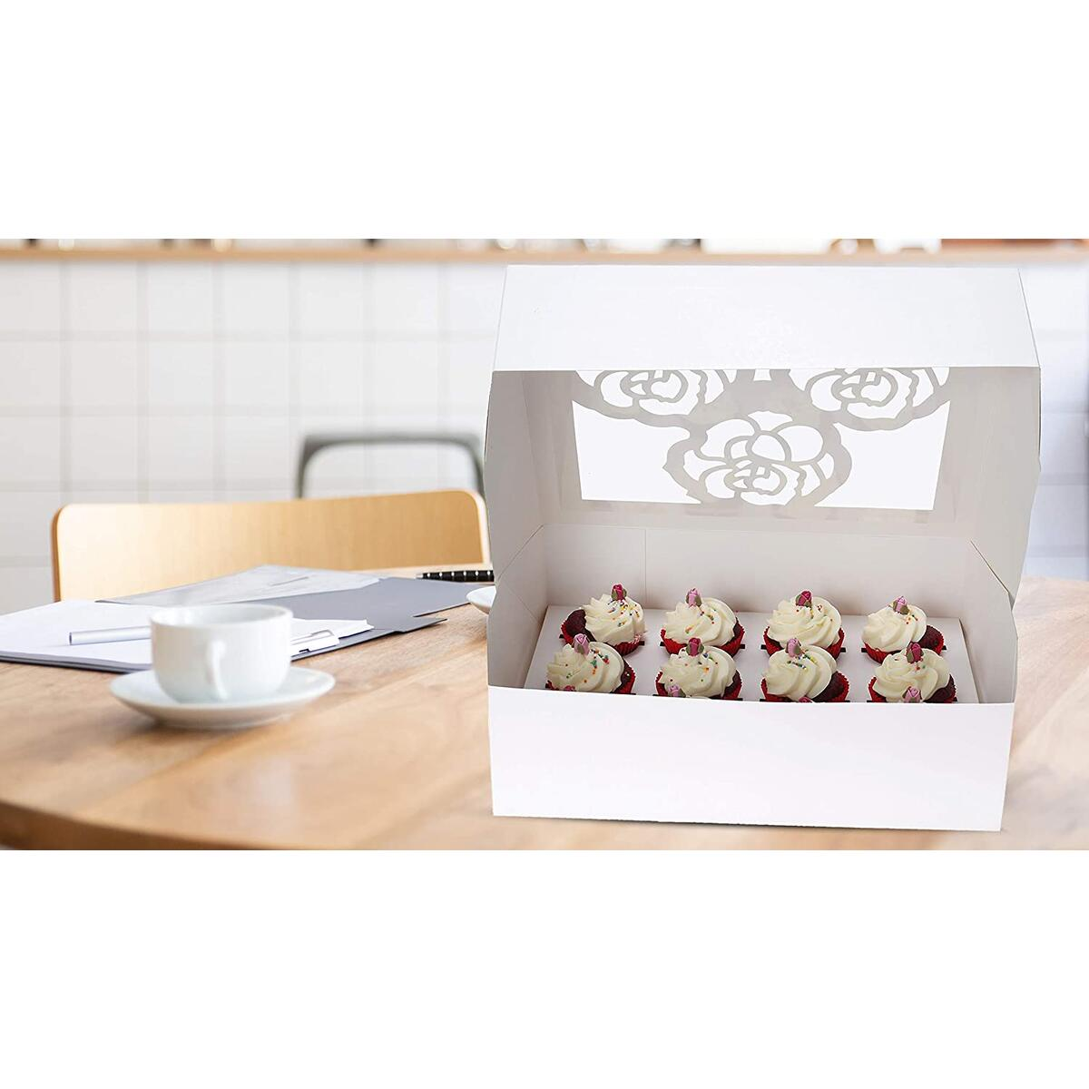 10-Set Large Cupcake Boxes Hold 12 Standard Cupcakes with holder inserts and papers, White Cupcake Carrier, Cupcake Containers, Food Grade Cupcake Holders clear window for Cookie, Muffin and Pastry