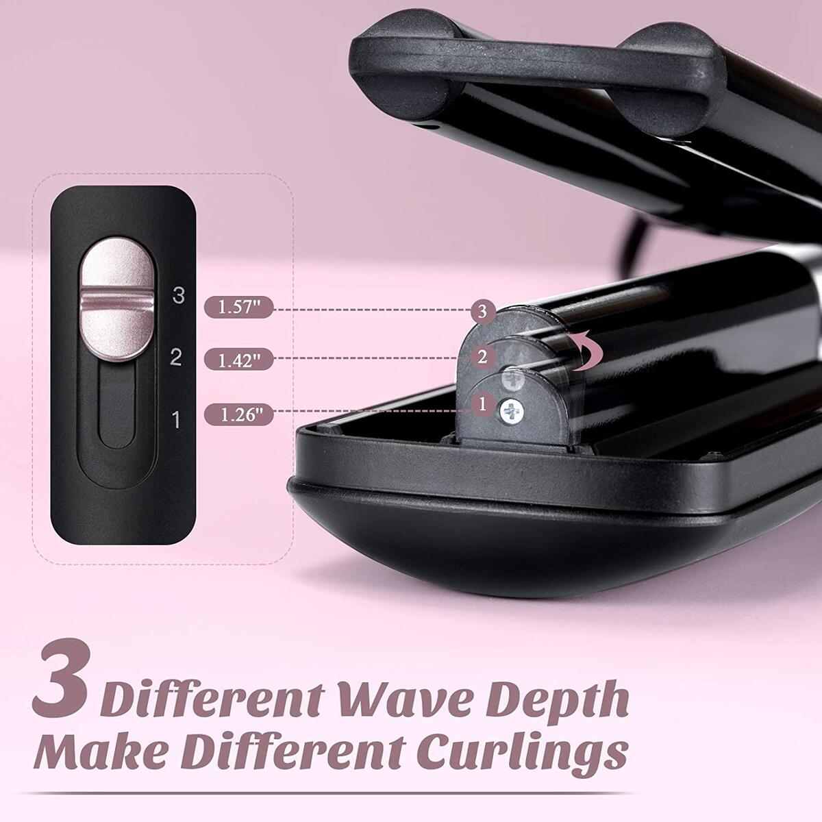 FINYOU 3 Barrel Curling Wand, Ceramic Tourmaline Hair Curling Iron, Fast Heating Adjustable Temperature Crimper Hair Iron, Professional Beach Waves Curling Iron for Multiple Waves(Black)