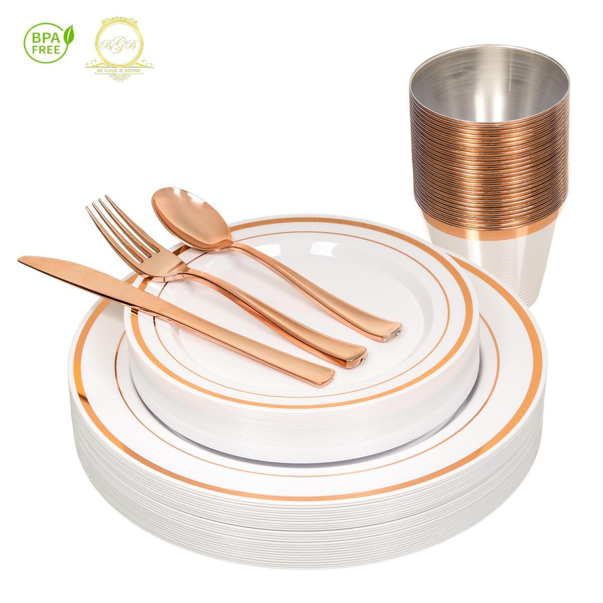 Elegant and Heavy Duty  Rose Gold Plastic Dinnerware - 156 Piece Set