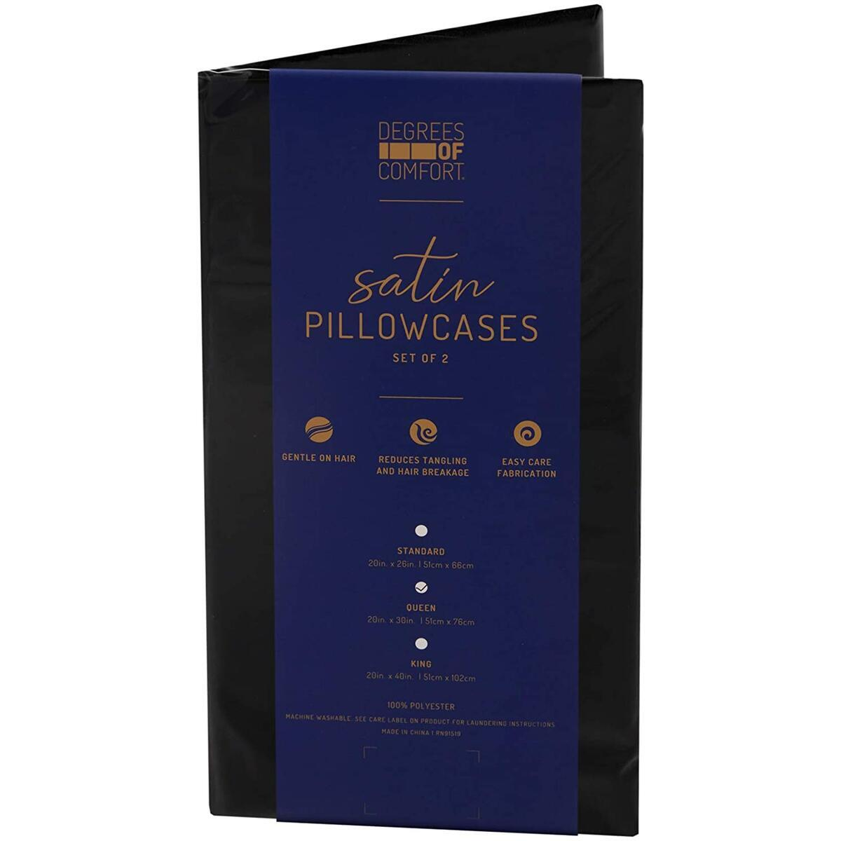 Satin Pillow Cases Standard Size Set of 2, Black 20 x 26 - Reduce Irritation & Frizzy | Satin Weave Cover for Silky Comfort | Retains Color in Easy Machine Wash & Dry