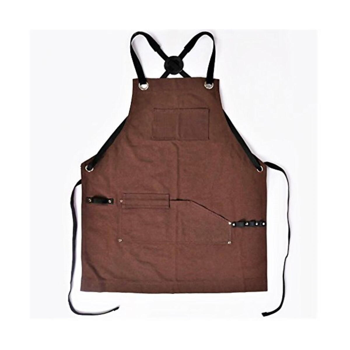 Heavy-Duty Work Apron - 16oz Waxed Canvas - Good for all your DIY, Grilling, Oil Changes, Yardwork, etc. One Size Fits All - Adjustable S-XXL