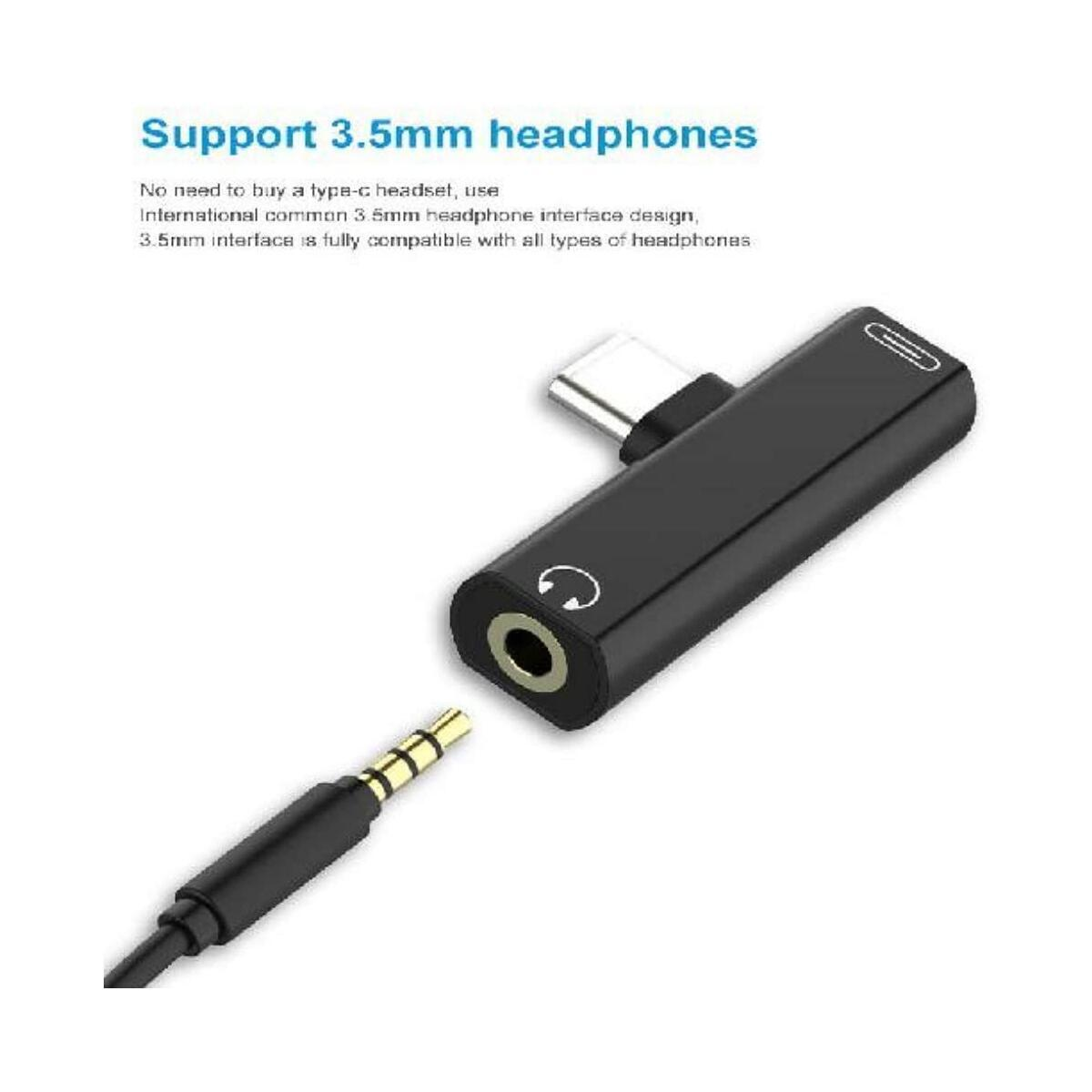 Adapter 2 in 1 USB Type C to 3.5mm Audio Splitter Jack Earphone Headphone Cable USB-C Charging for Samsung, Huawei, Xiaomi, LG, Google, HTC, BlackBerry and Tablet Adaptor (Black)