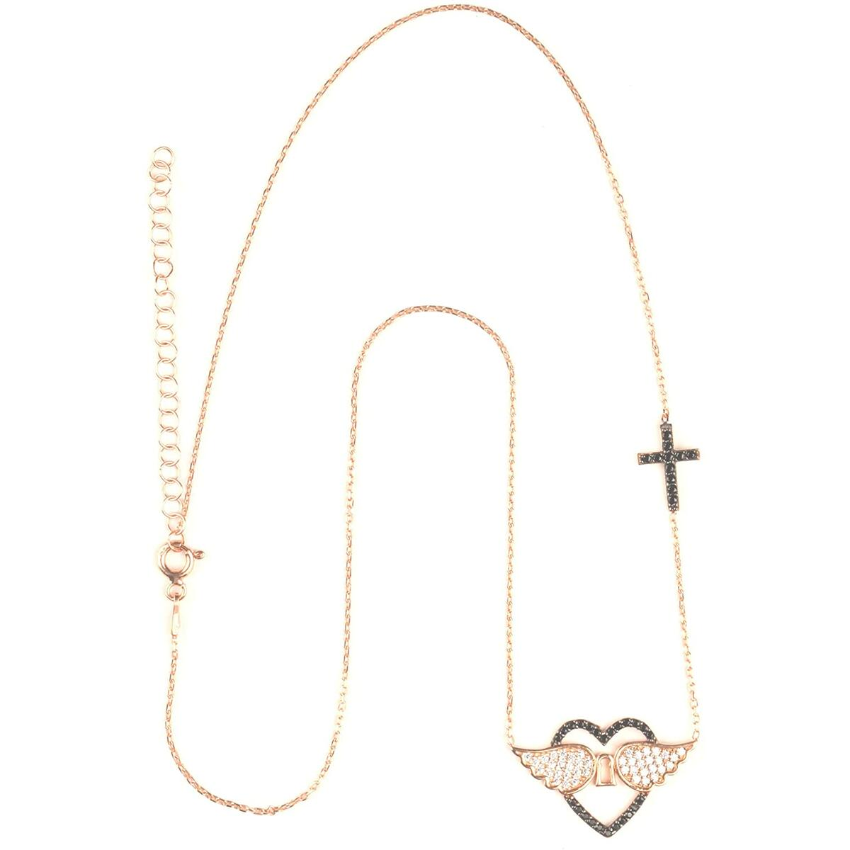 Angel Wings Necklace 925 Sterling Silver for Women Gold Plated Love & Heart Angel Wings and Cross - Zirconia Necklace for Women - Pendant Locket Christmas Birthday Jewelry Gifts for Women, Girl, Teen