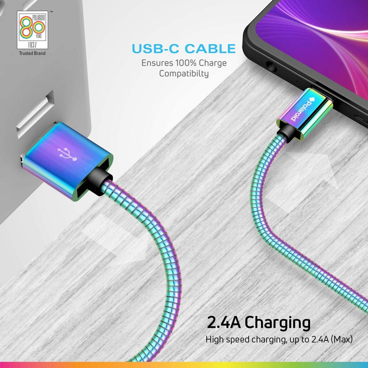 Polaroid 5ft USB C Cable - Fast Charge, Compatible With QC Devices - Colorful/Iridescent
