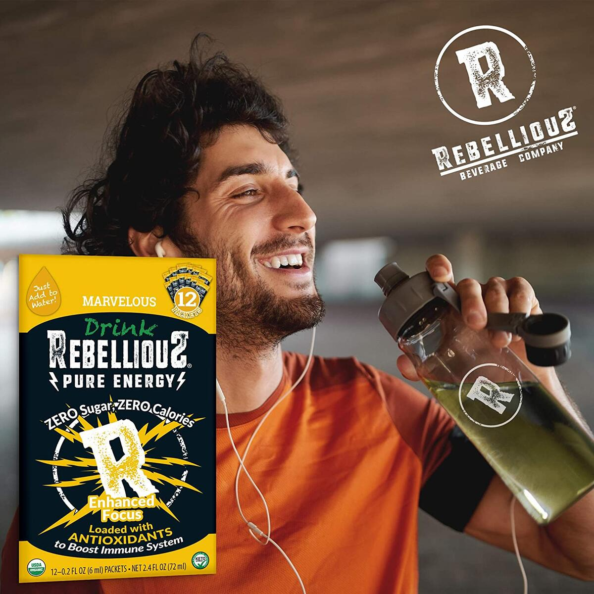 RebelliouS Energy Drink Organic Flavor Water Enhancer, Antioxidant Immune Support Hydration Beverage Focused Clean Energy Drink Mix Packets, Sugar Free, No Calories (12 Count, Marvelous Mango)