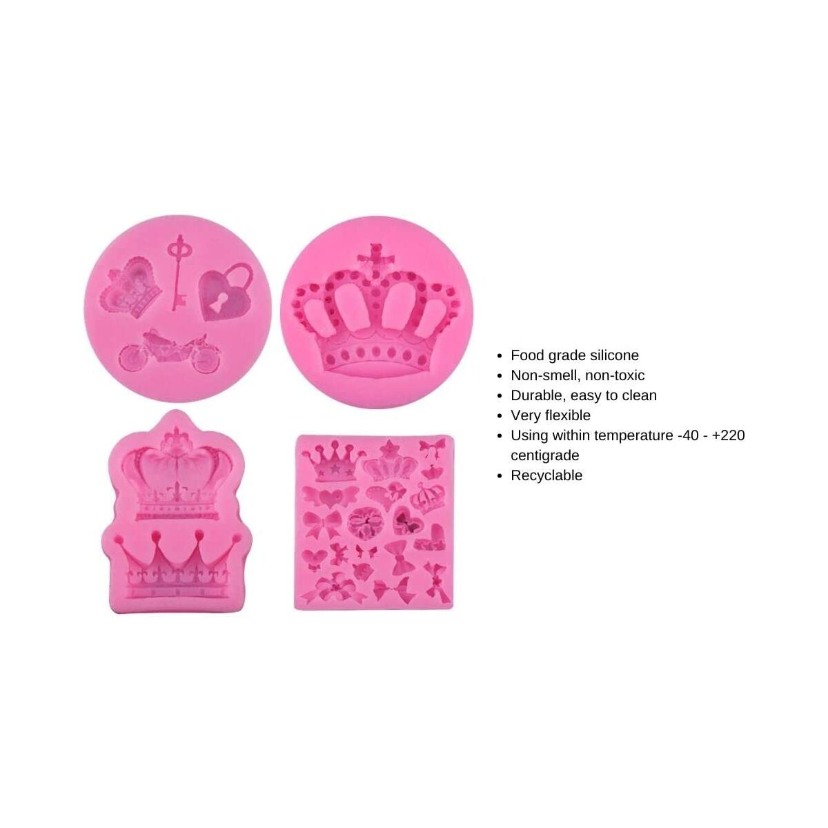 Silicon Crown Fondant Candy Silicone Molds Bows Crown Heart Mold for Sugarcraft, Cake Decoration, Cupcake Topper, Chocolate, Pastry, Cookie Decor, Clay, Epoxy Resin, Crafting Projects (4 Pack)