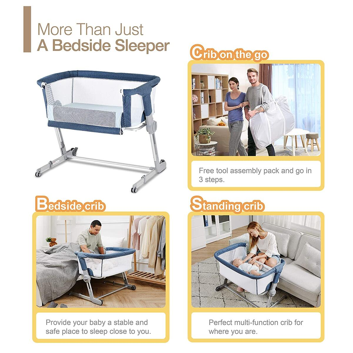 Unilove Hug Me Plus, Bedside Sleeper, Baby Bassinet, Portable Crib Includes Travel Bag, 1.2