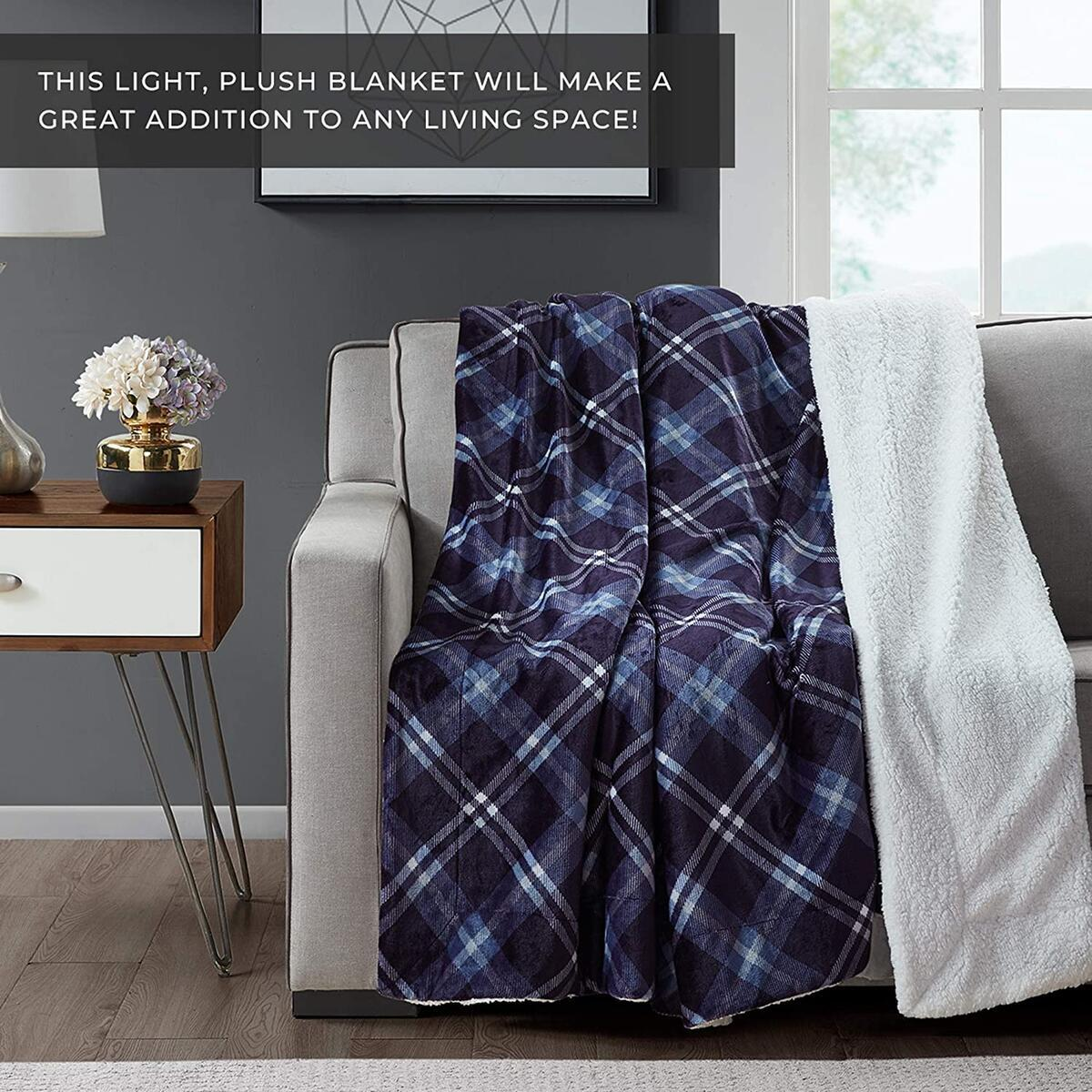 Soft Sherpa Micro Fleece Blanket King Size, Fuzzy Plush Cozy Flannel Reversible Blanket for Sofa, Couch, Bed - 108x90 Inches, Blue Plaid