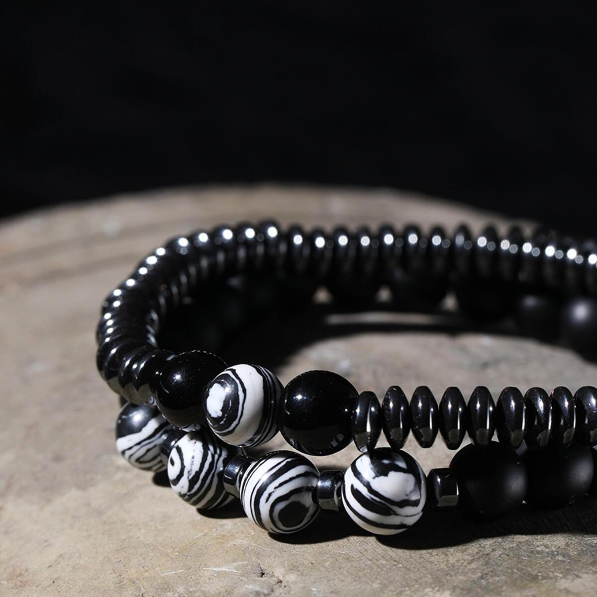 2Pcs Stone Bracelet 8mm Natural Stone Bracelets for Men Hematite Strand Couple Beads Bracelets for Men Women Girls Bracelets