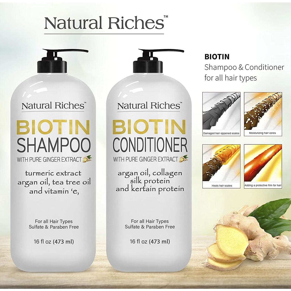 New Natural Riches Biotin Shampoo and Conditioner Set – W/Ginger Turmeric Extract & Keratin for Hair follicle Hair Loss and Thinning Hair gives Fuller Thicker Hair Sulfate free 2X16 fl oz.…