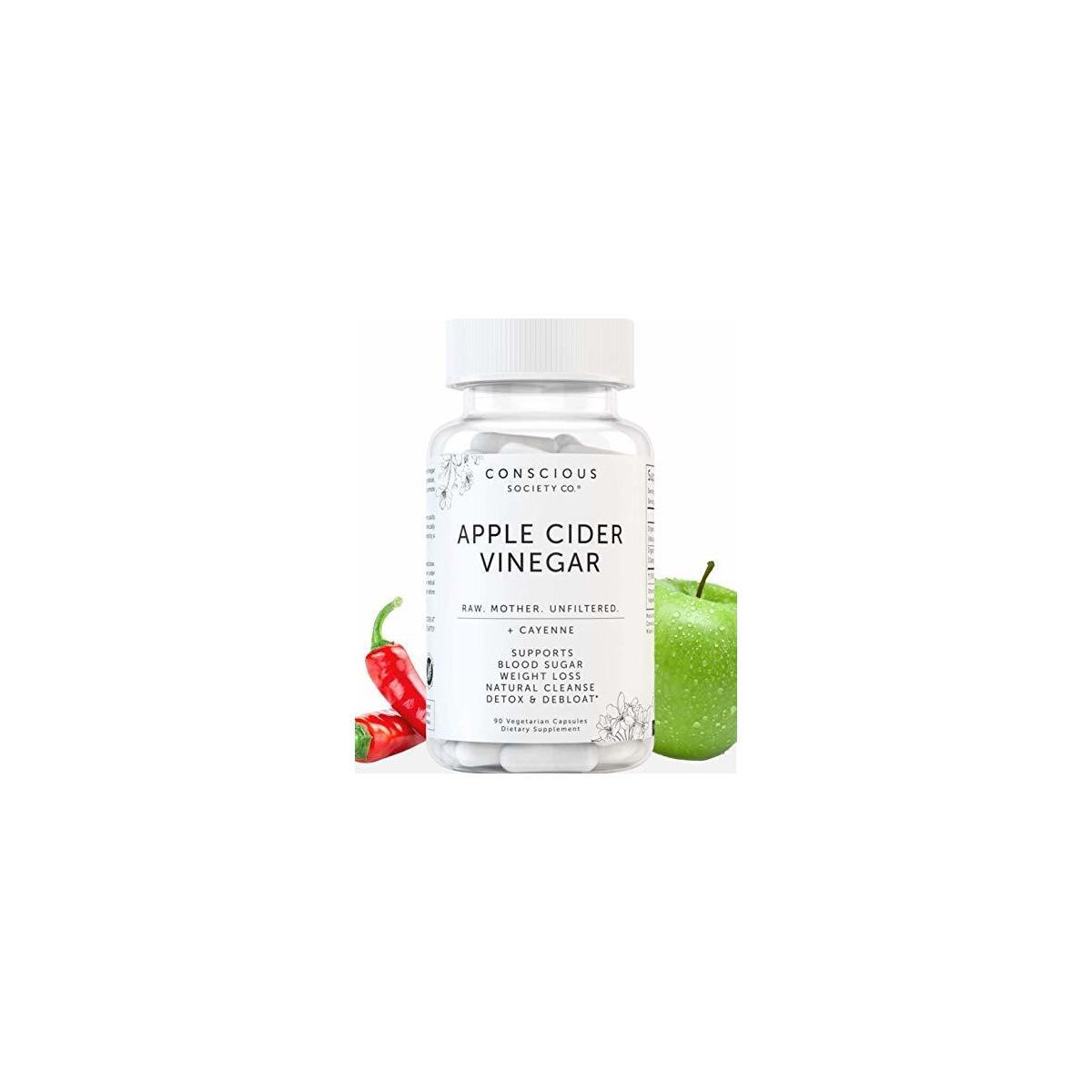 Organic Apple Cider Vinegar Capsules with Mother and Cayenne | Apple Cider Vinegar Pills for Gut Health, Digestion, Bloating Relief, Immune Boost and Weight Loss